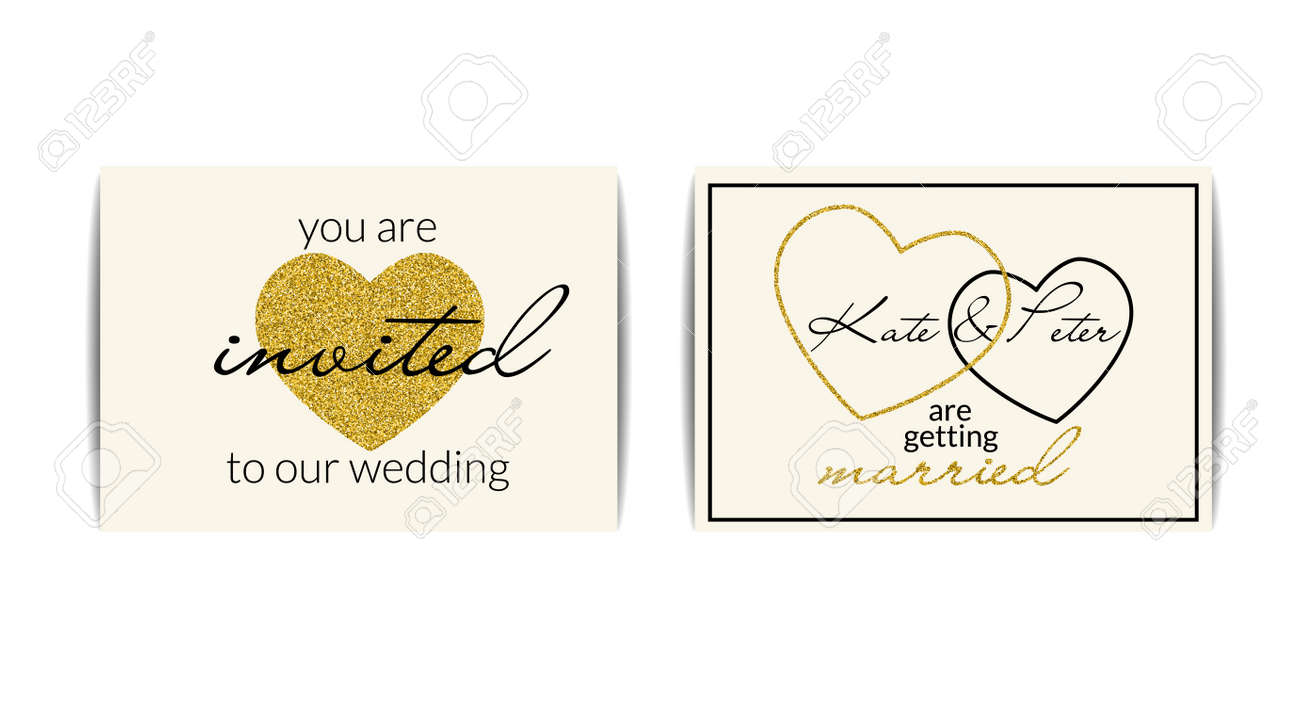 Set Of Typographic Wedding Invitations With Love Symbol. You ...