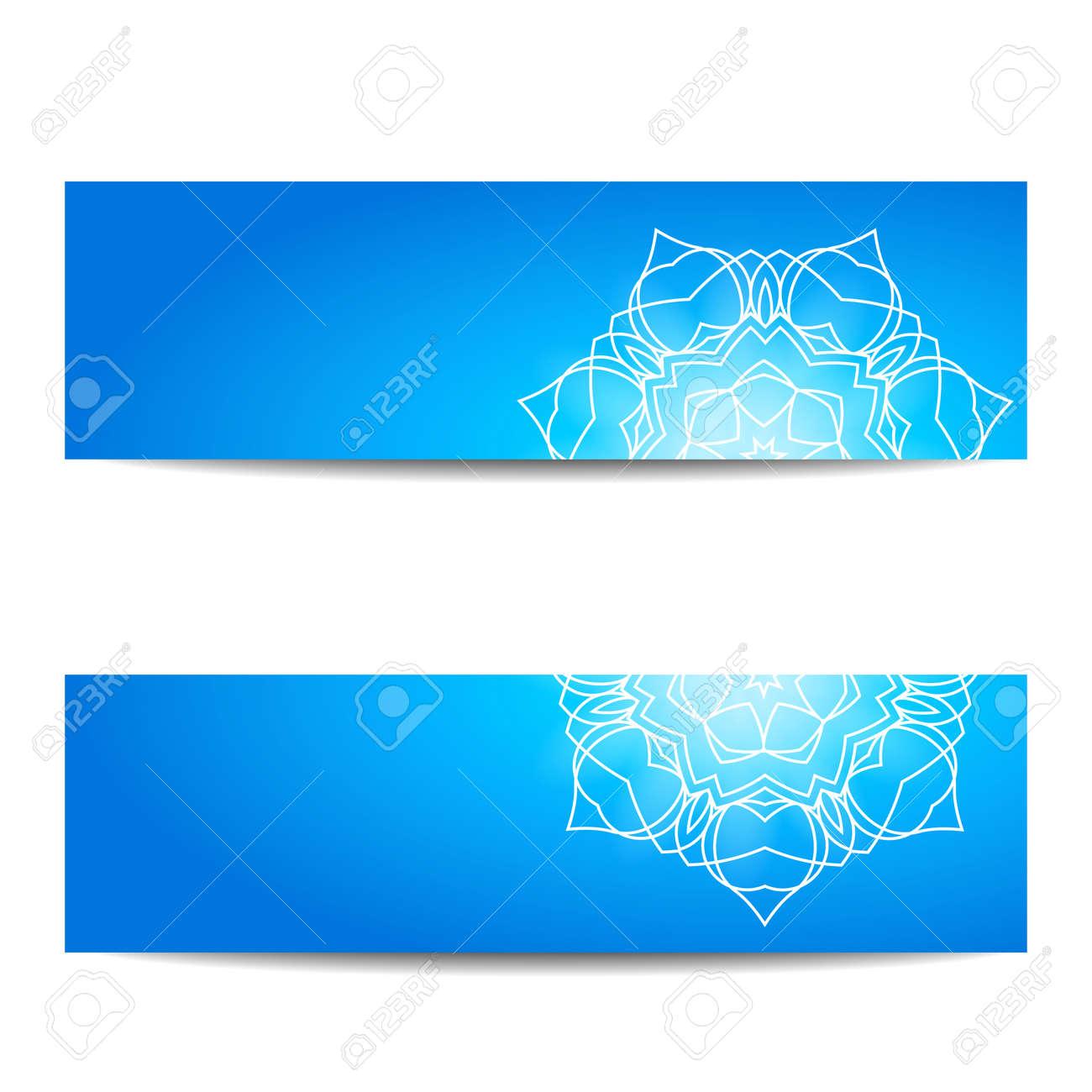 Plantilla De Banner Azul Con Mandala Floral Blanco. Geometría ...