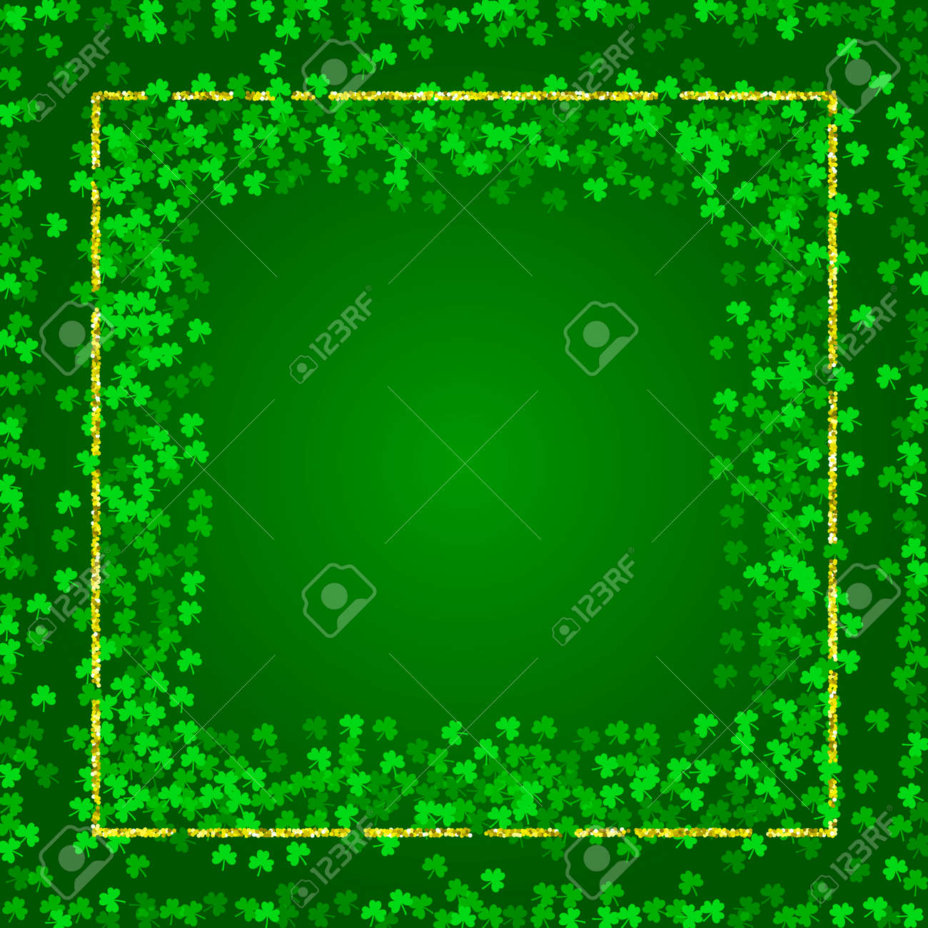 Square Saint Patricks Day Background With Green Clover Confetti