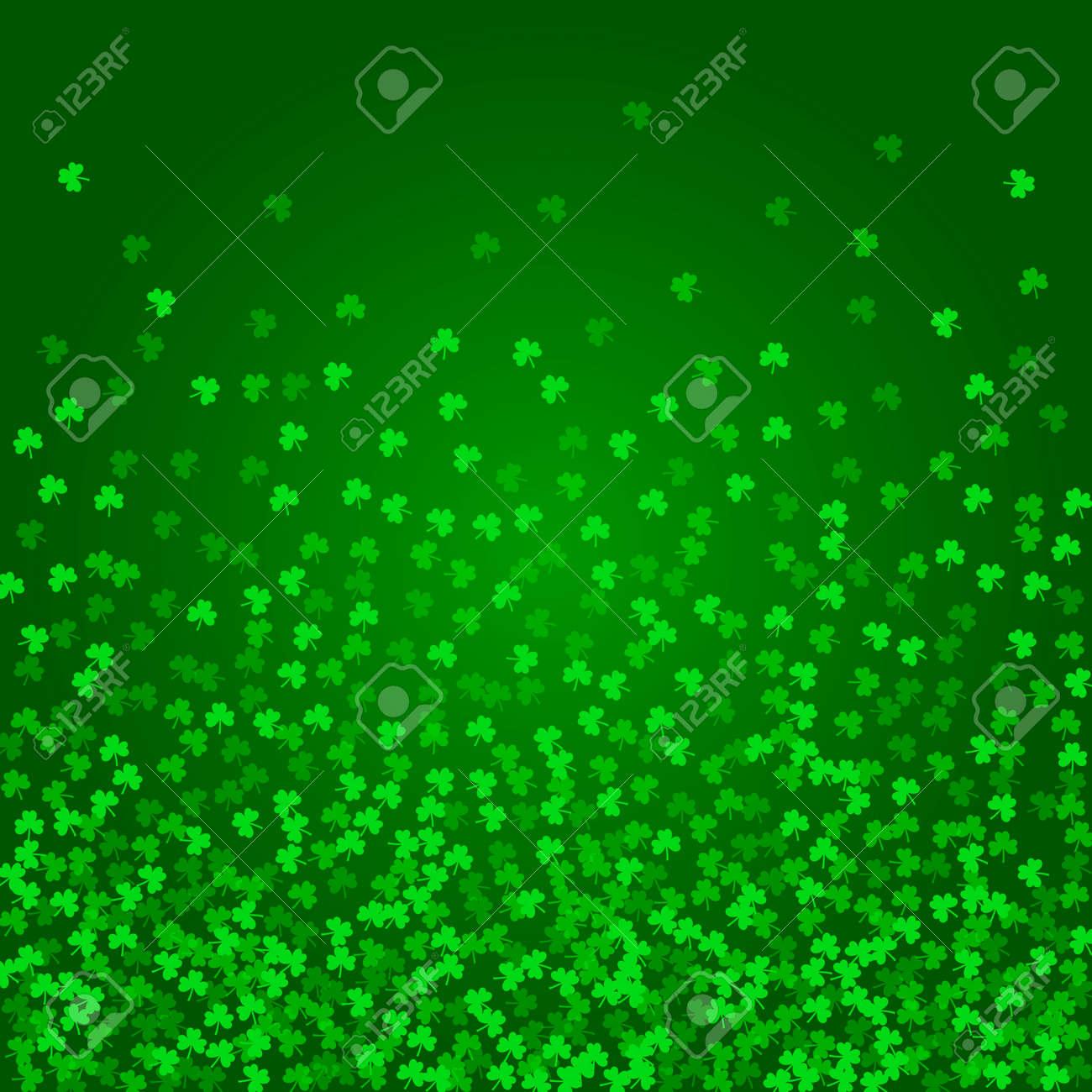 Fondo Cuadrado Del Día De Patricks Del Santo Con El Confeti Verde Flotante Del Trébol Hojas De Trébol Altísimas Plantilla Para El Diseño De Tarjetas