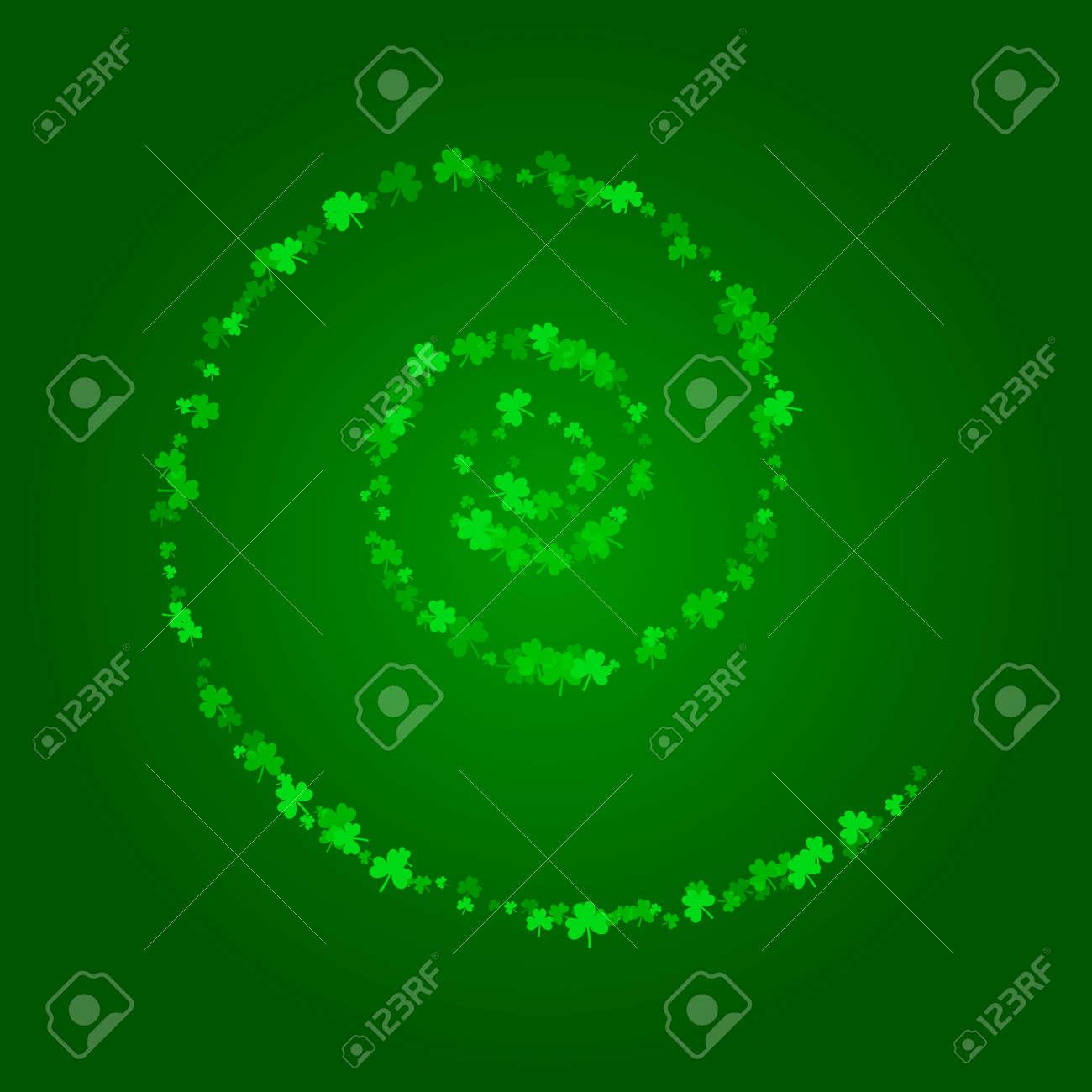 Fondo Cuadrado Del Día De Patricks Del Santo Con Confeti Verde Del Trébol Espiral De Hojas De Trébol Plantilla Para Diseño De Tarjetas De