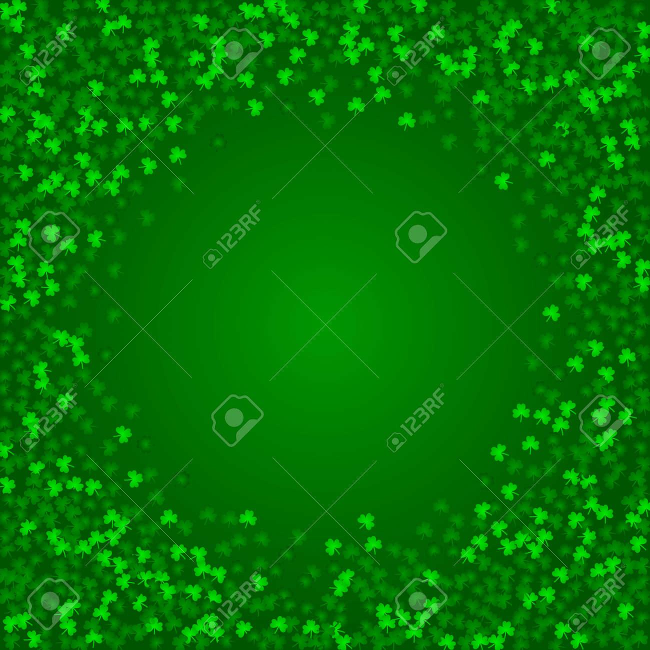 Fondo Cuadrado Del Día De Patricks Del Santo Con Confeti Verde Del Trébol Marco Redondo De Hojas De Trébol Plantilla Para Diseño De Tarjetas De