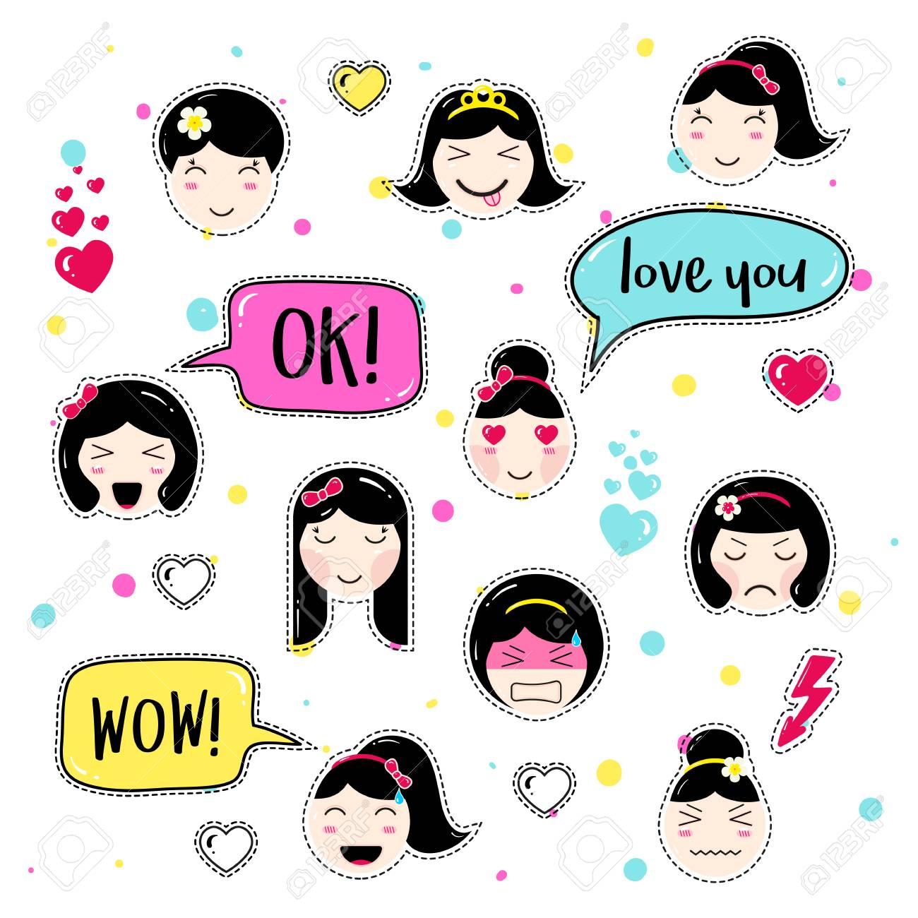 Set De Badges Patch Mignon. Emoji Fille Avec Différentes émotions ...