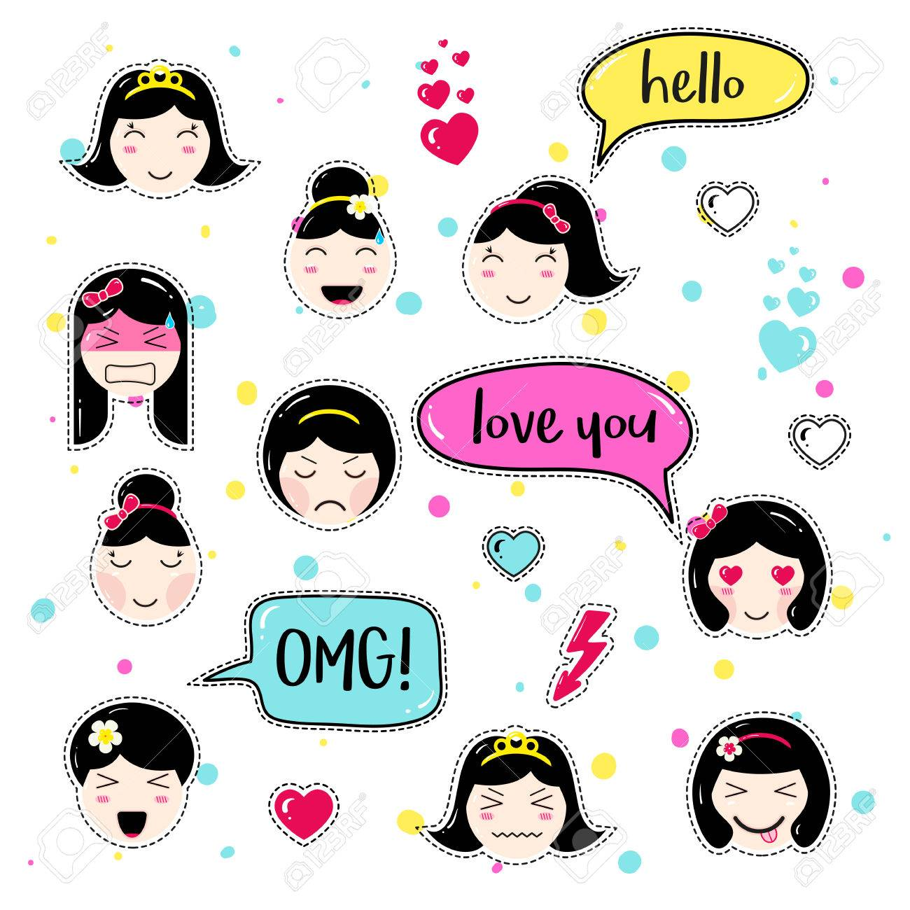 Set of cute patch badges  Girl emoji with different emotions