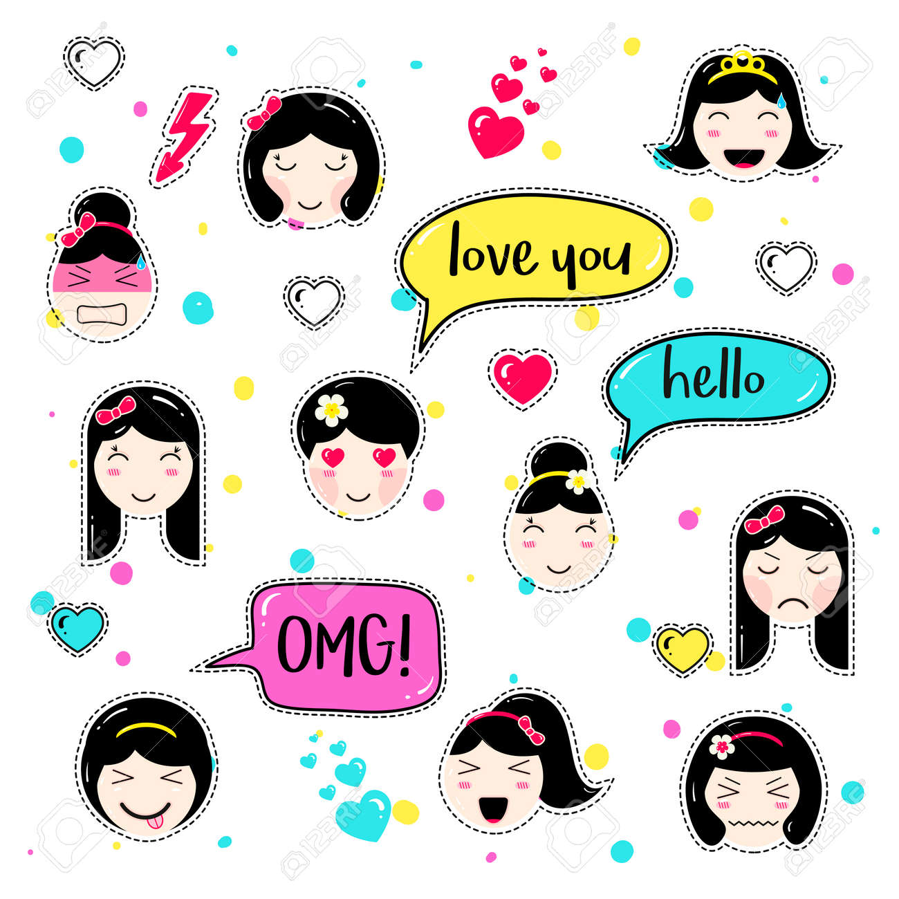 Girl emoji with different emotions and hairstyles  Kawaii emoticons,