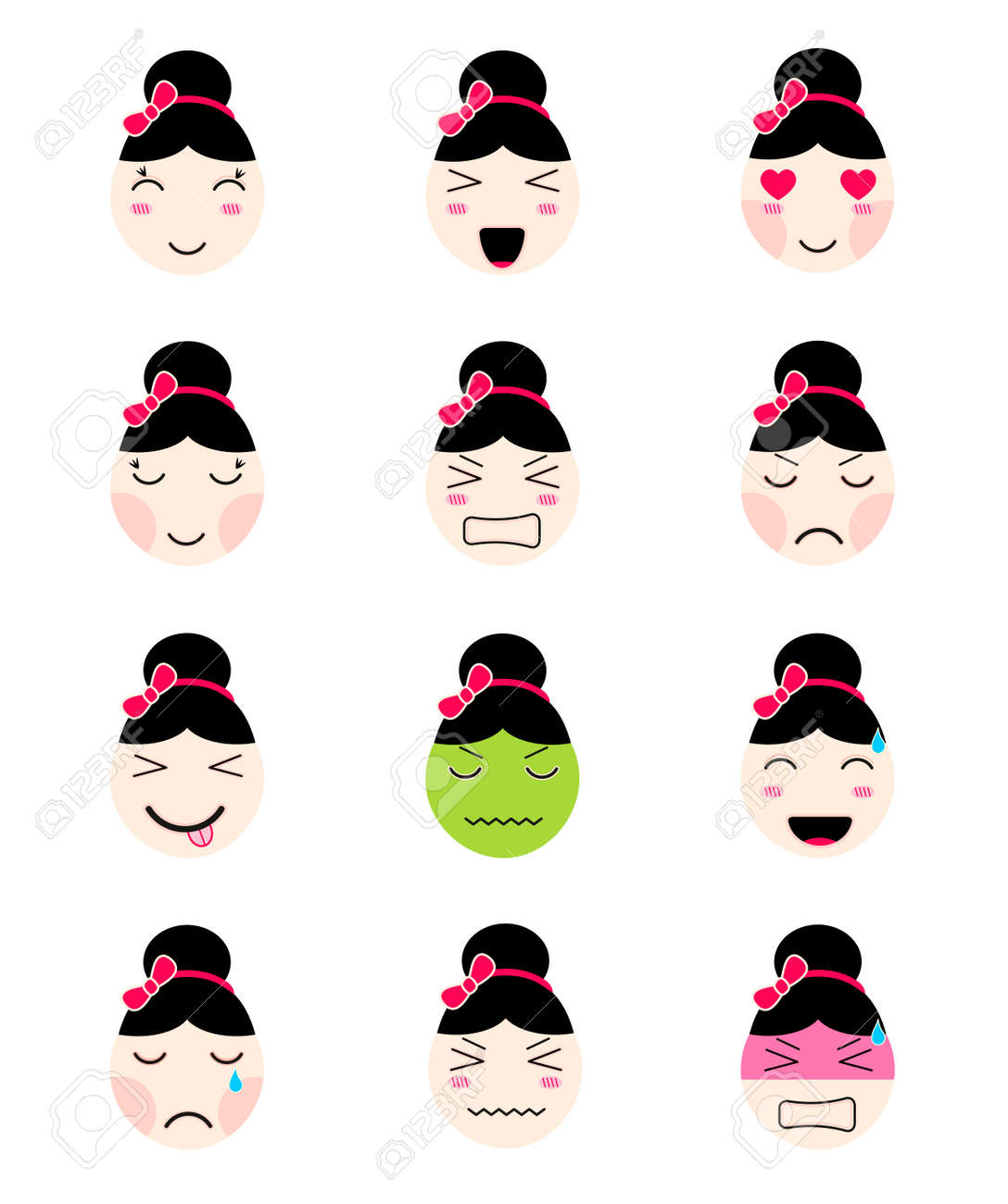 Kawaii Asian Girl Face Set Of Flat Emoticon In Anime Style