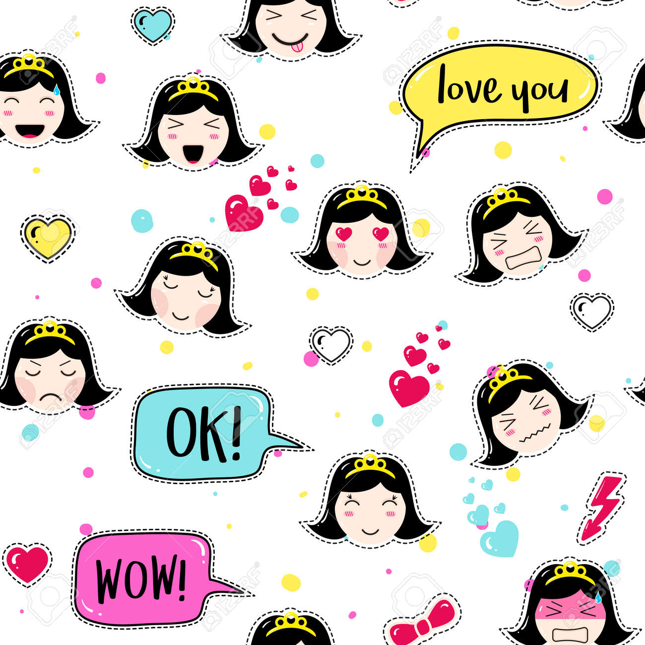 Emoji Seamless Pattern In Asian Style With Anime Emoticons Girls