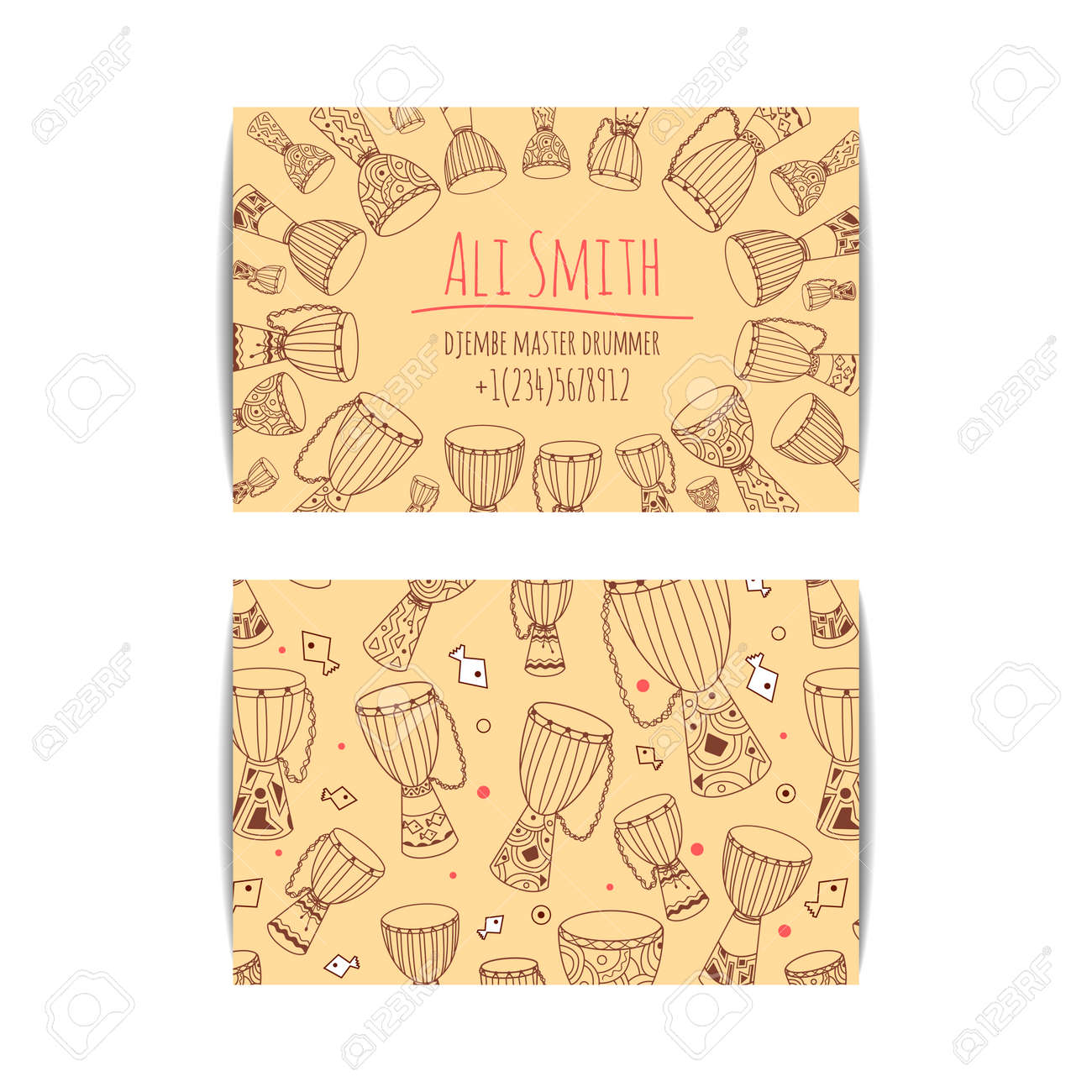 African Drum Visit Card. Djembe Master Drummer Business Card ...