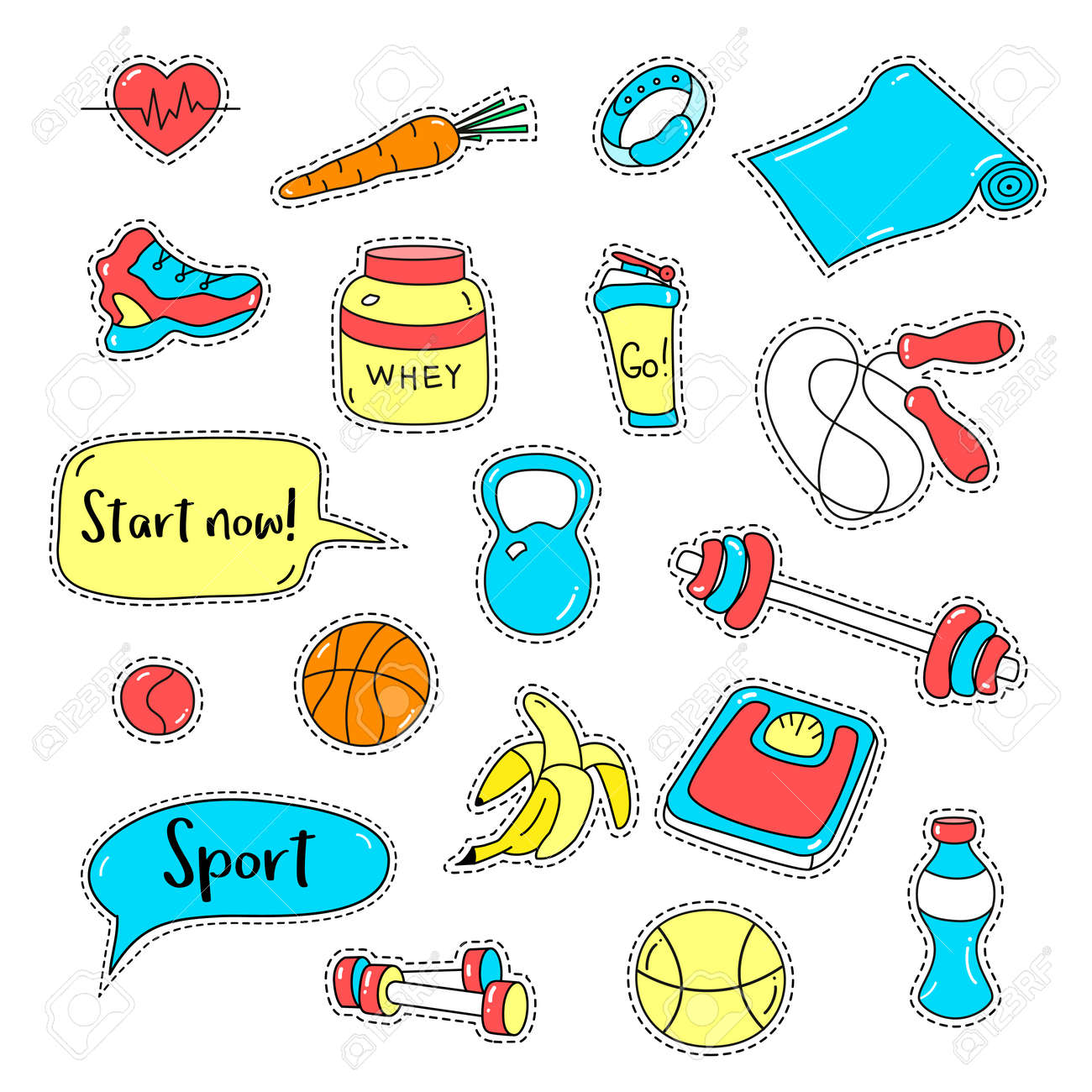 Sport Stickers Set Hand Drawn Fitness Patch Badges Gym Equipment