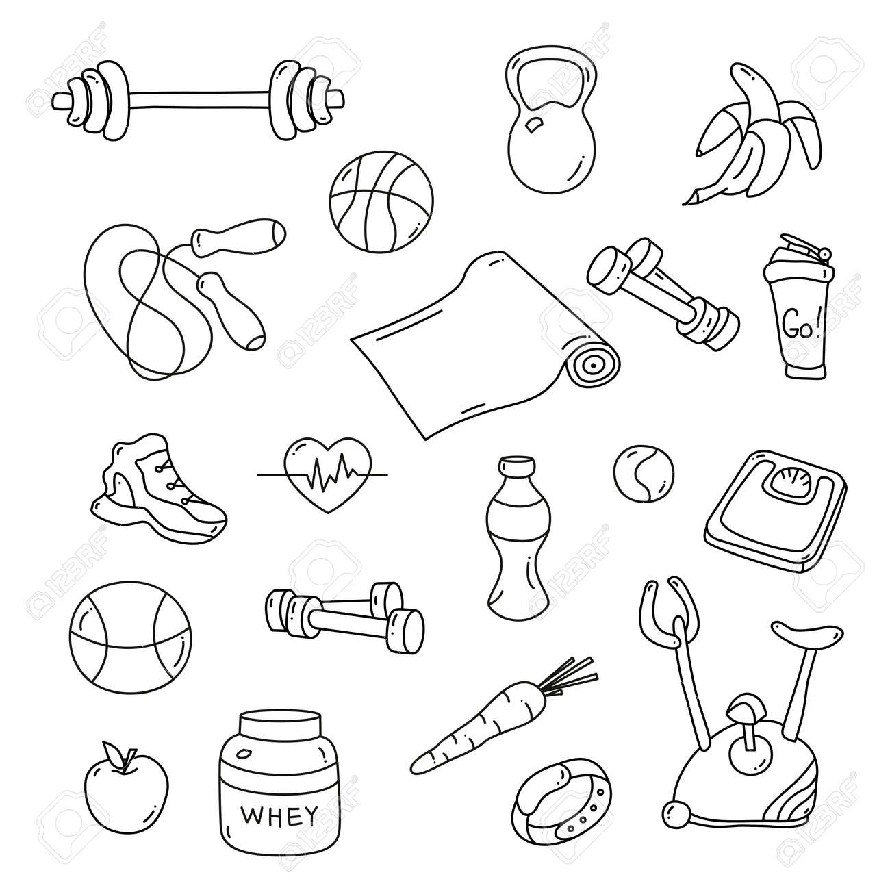 Hand Drawn Fitness Doodles  Isolated Set Of Gym Equipment  Apple