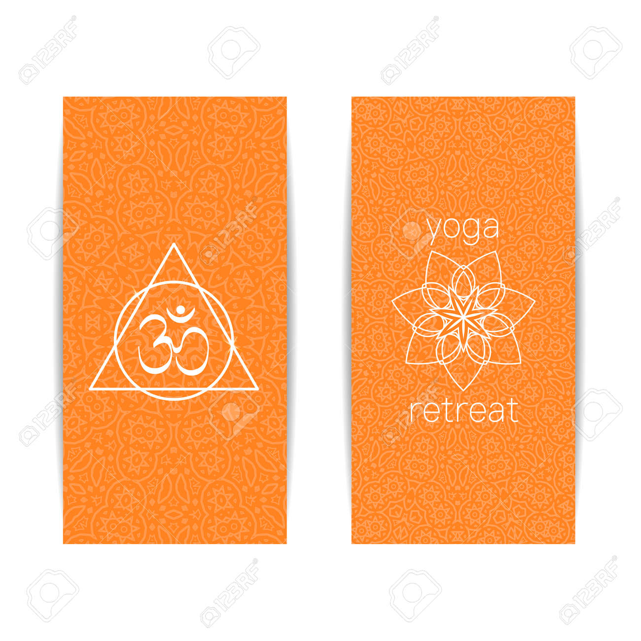 Yoga Banner Template Set Of Vertical Orange Flyers With Chakra