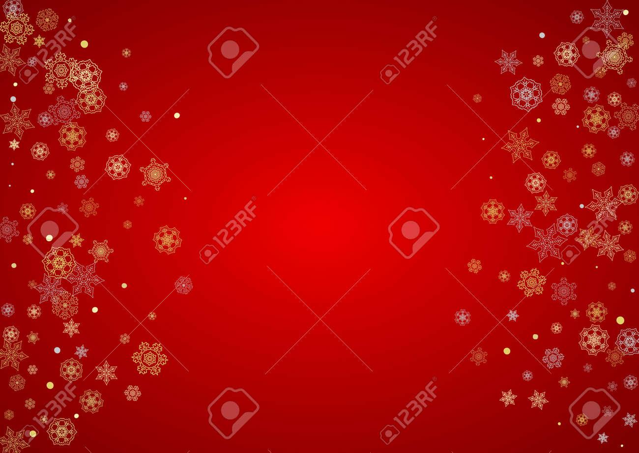 Vettoriale Neve Di Natale Su Sfondo Rosso Cornice Glitter Per