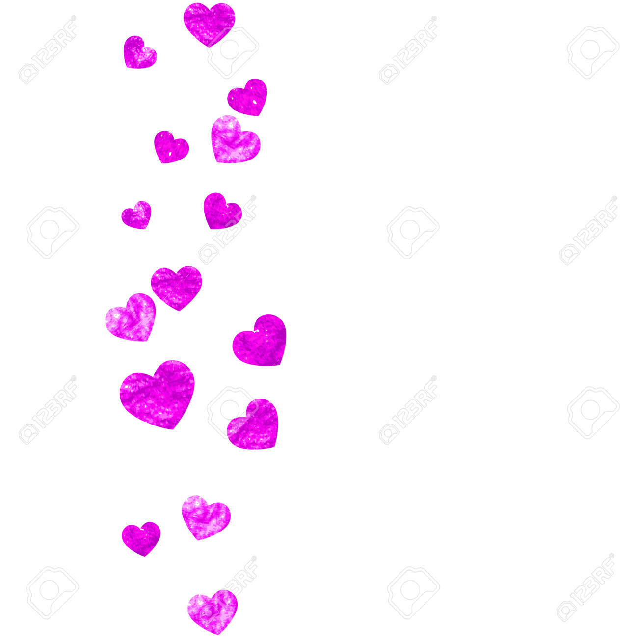 Valentine Background With Pink Glitter Hearts. February Day Vector ...