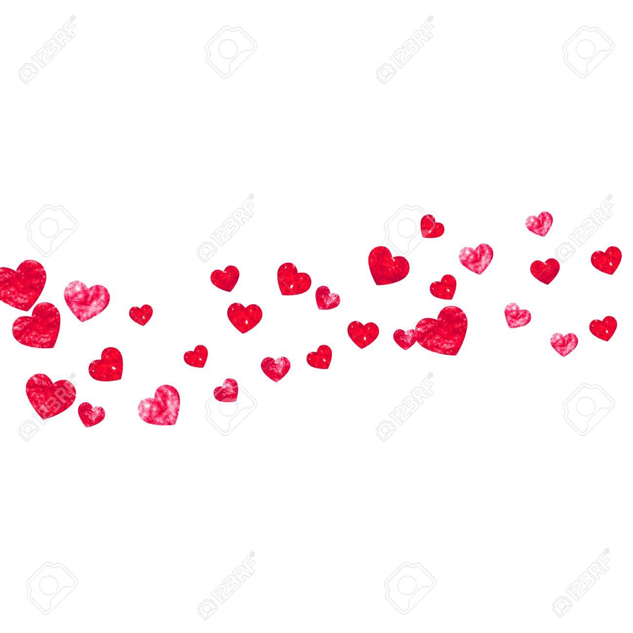 Valentinstag Grenze Mit Roten Glitzer Herzen. 14. Februar Tag ...
