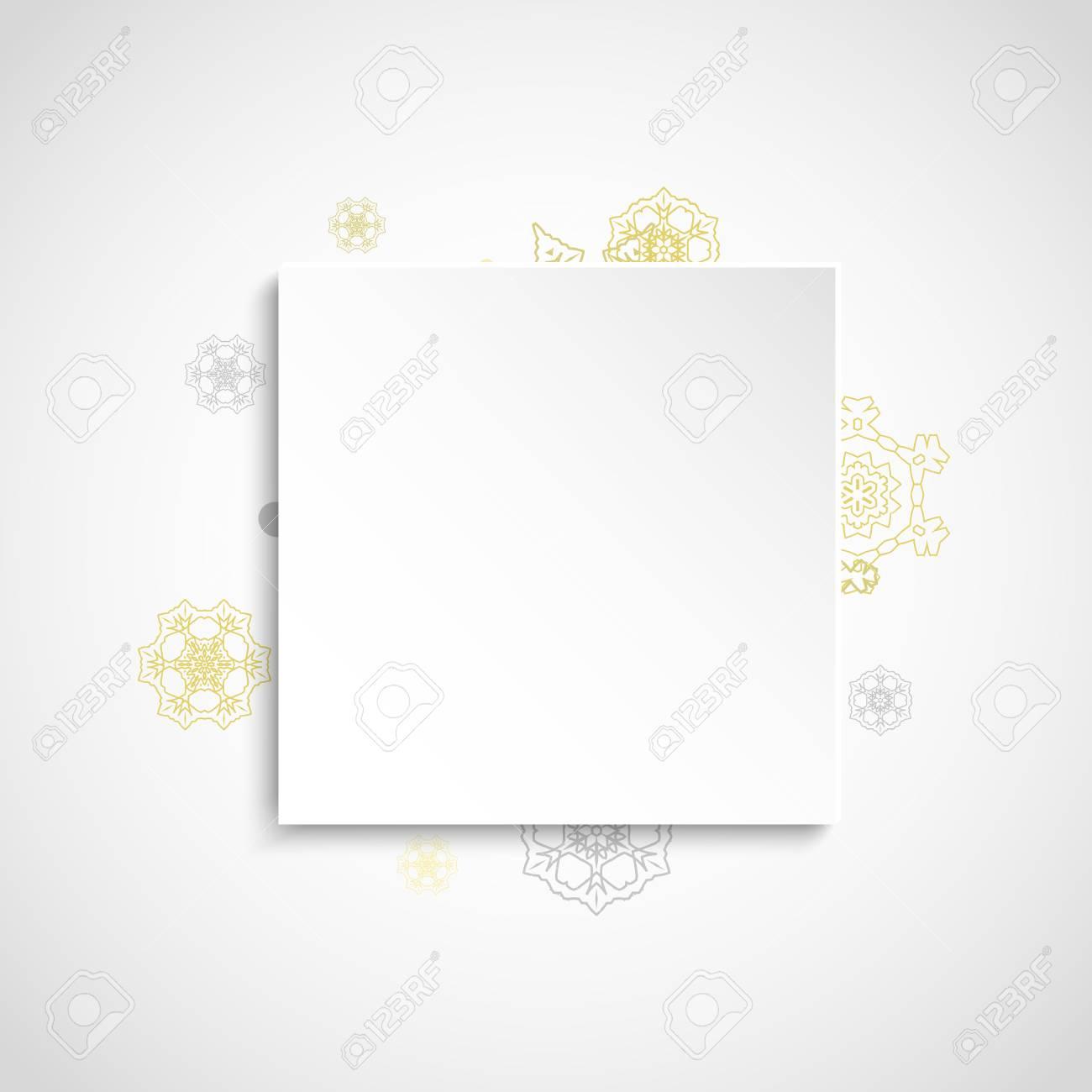 Marco De Los Copos De Nieve Brillo Sobre Fondo Cuadrado Blanco ...