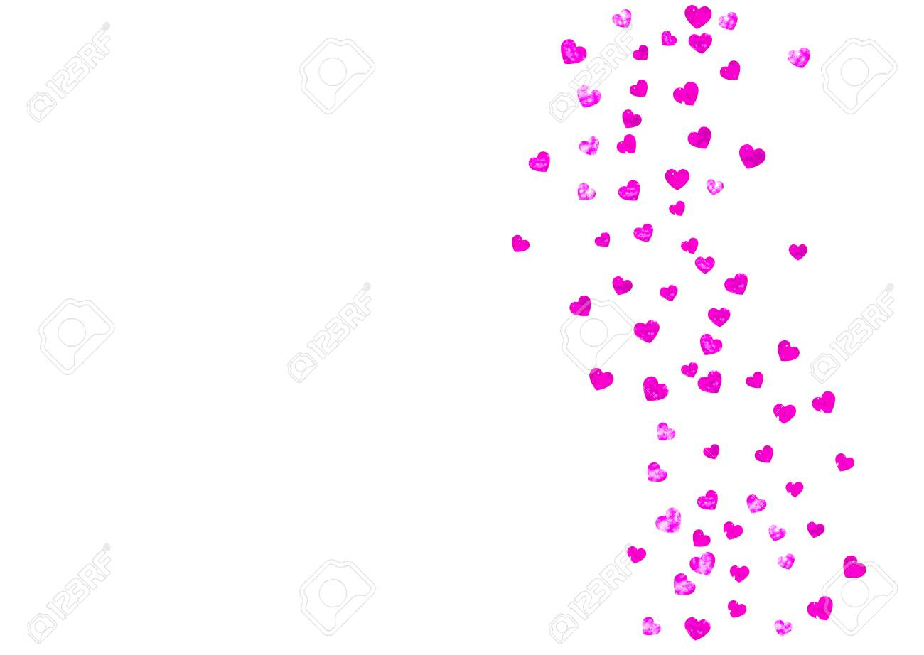 Heart Border For Valentines Day With Pink Glitter. February 14th ...