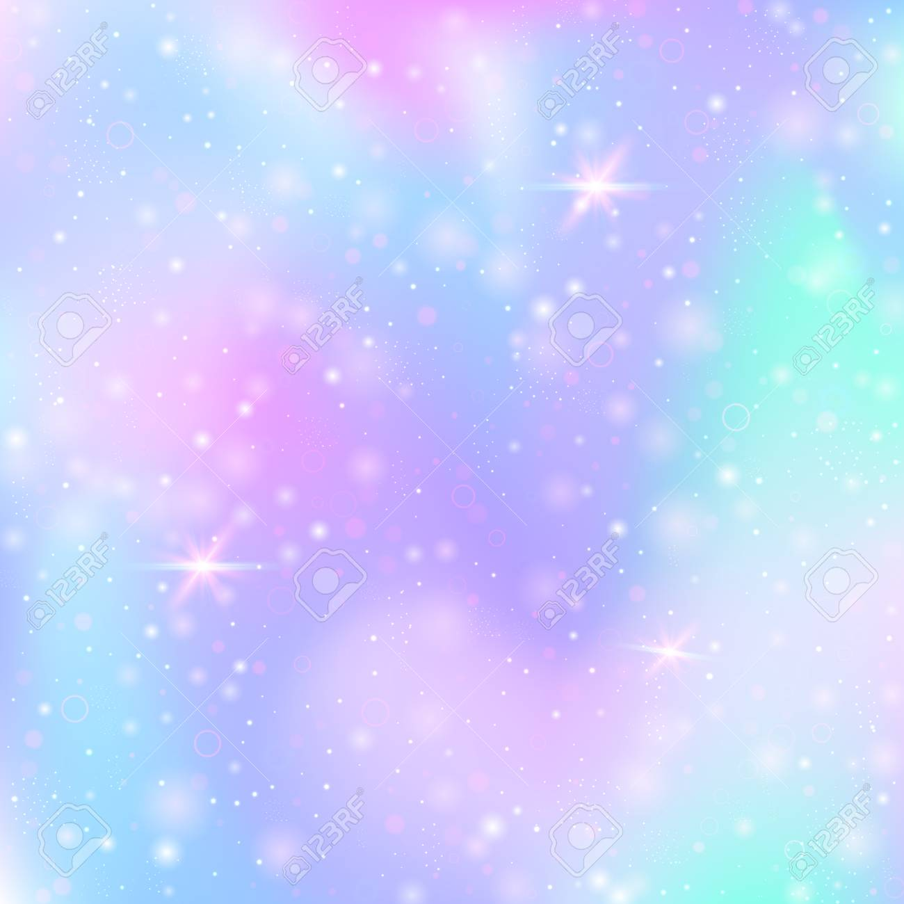 Unicorn background with rainbow mesh. Multicolor universe banner in princess colors. Fantasy gradient backdrop with hologram. Holographic unicorn background with magic sparkles, stars and blurs. - 95737696