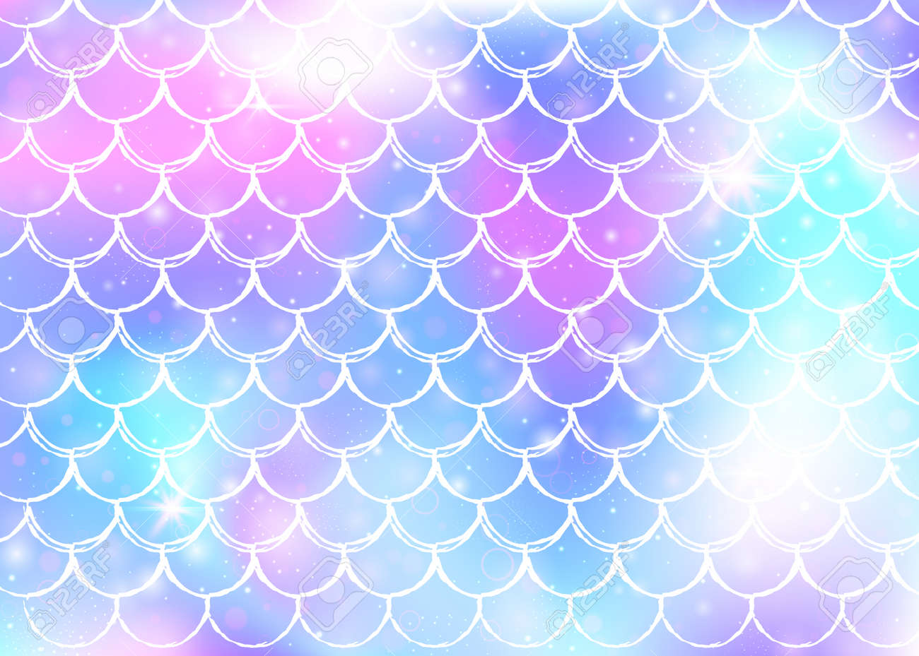 Princess Mermaid Background With Kawaii Rainbow Scales Pattern Royalty Free Cliparts Vectors And Stock Illustration Image 111585853