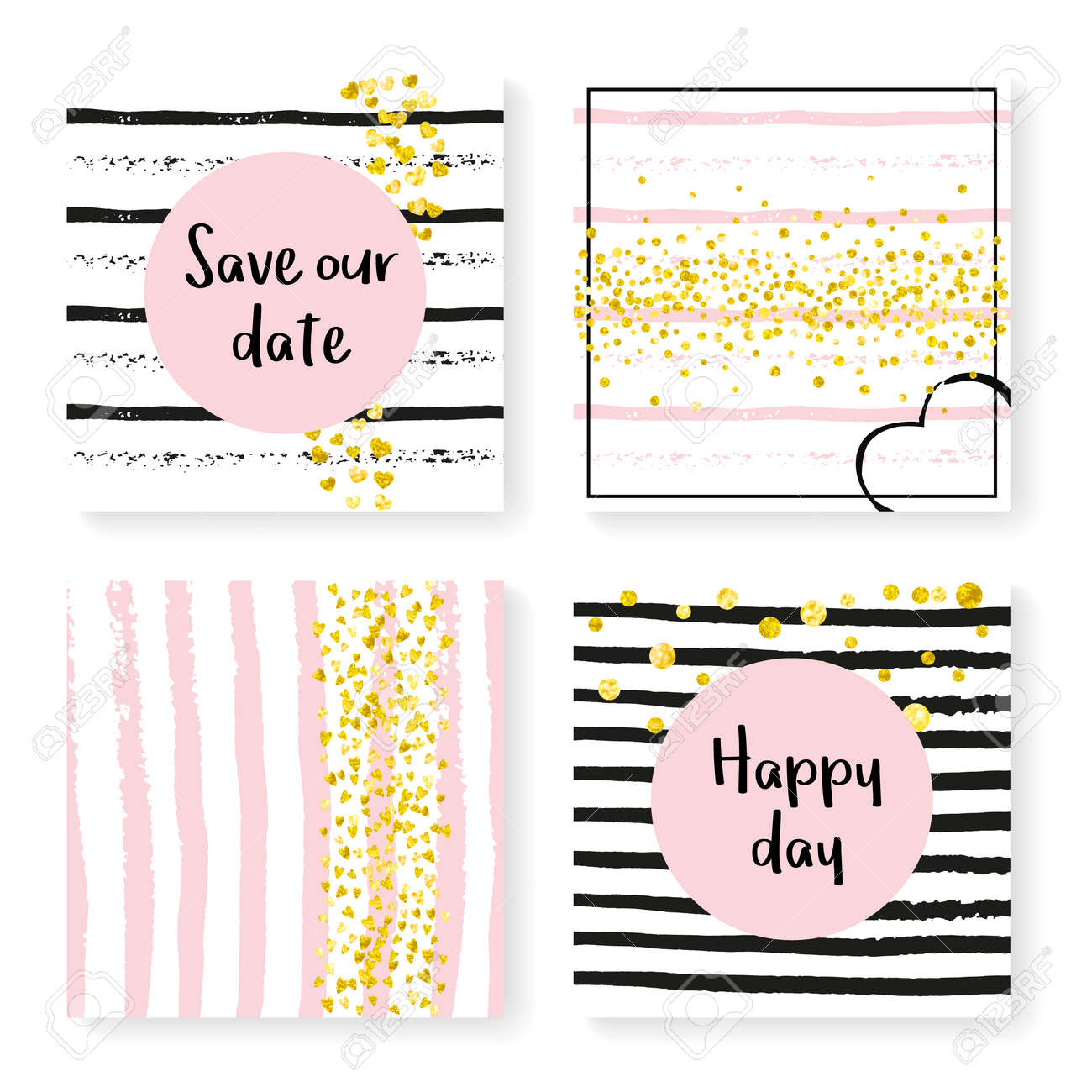 8bdbe9259 Gold hearts and dots on black and pink background. Template with wedding  glitter for party