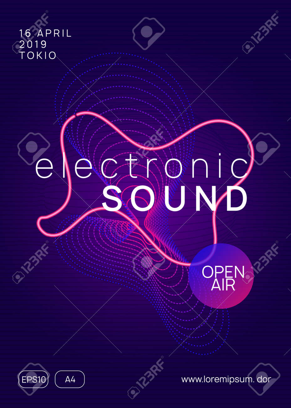 Music fest. Dynamic gradient shape and line. Minimal show banner design. Music fest neon flyer. Electro dance. Electronic trance sound. Techno dj party. Club event poster. - 126408402