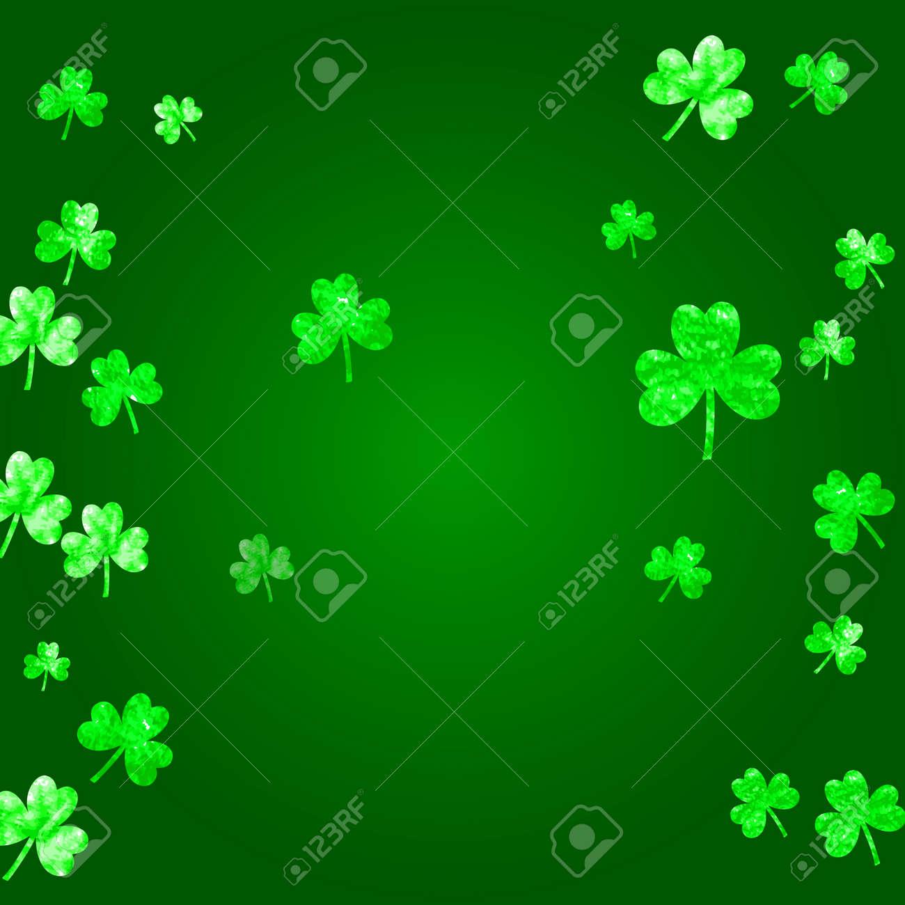 Saint Patricks Day Background With Shamrock Lucky Trefoil Confetti