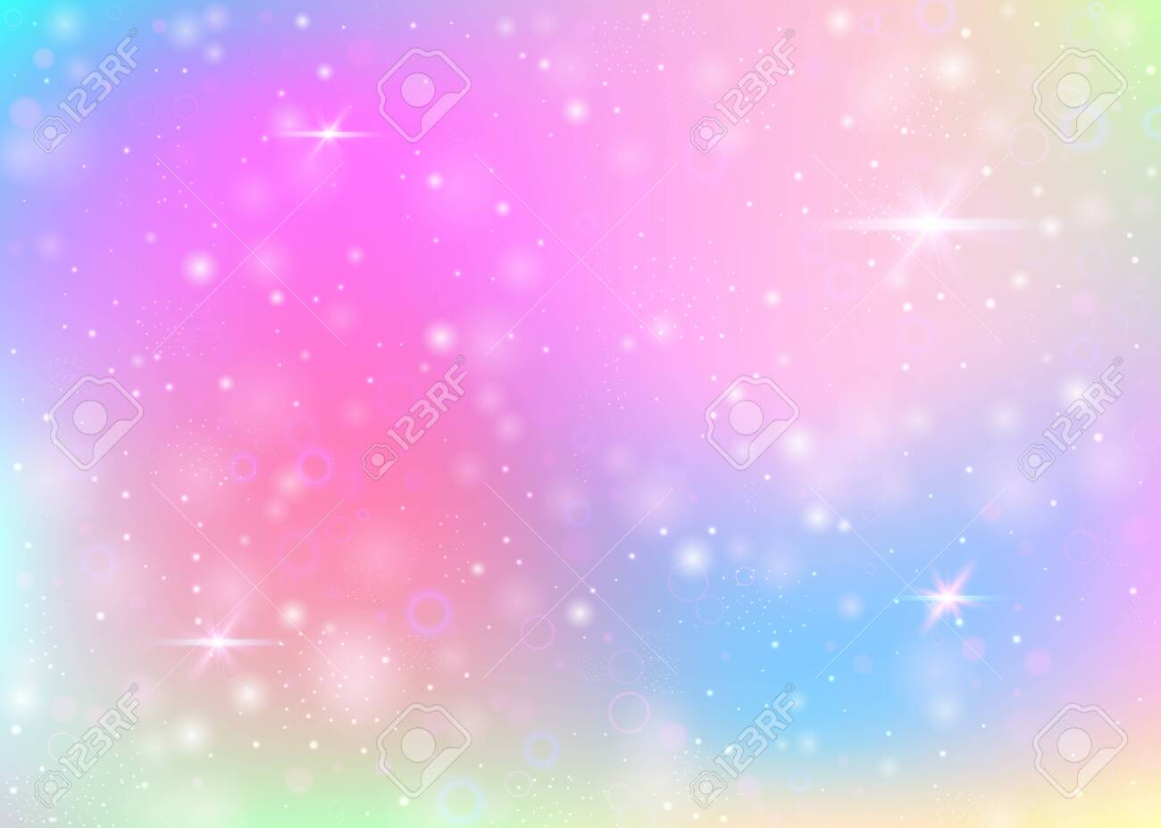 Unicorn background with rainbow mesh. Girlie universe banner in princess colors. Fantasy gradient backdrop with hologram. Holographic unicorn background with magic sparkles, stars and blurs. - 151176249