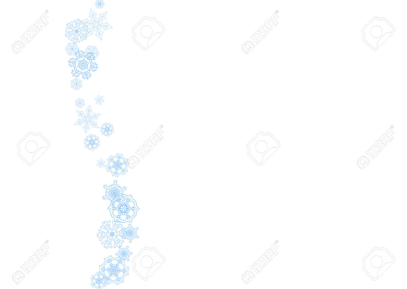 Winter frame with blue snowflakes for Christmas and New Year celebration. Horizontal winter frame on white background for banners, gift coupons, vouchers, ads, party events. Falling frosty snow. - 159468758