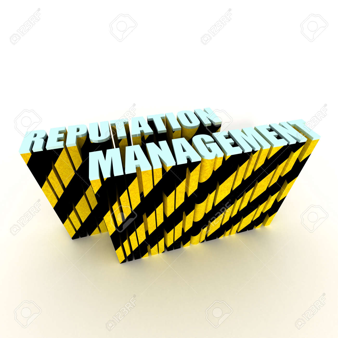 reputation management text with warning stripe tape isolated on white background Stock Photo - 9177251