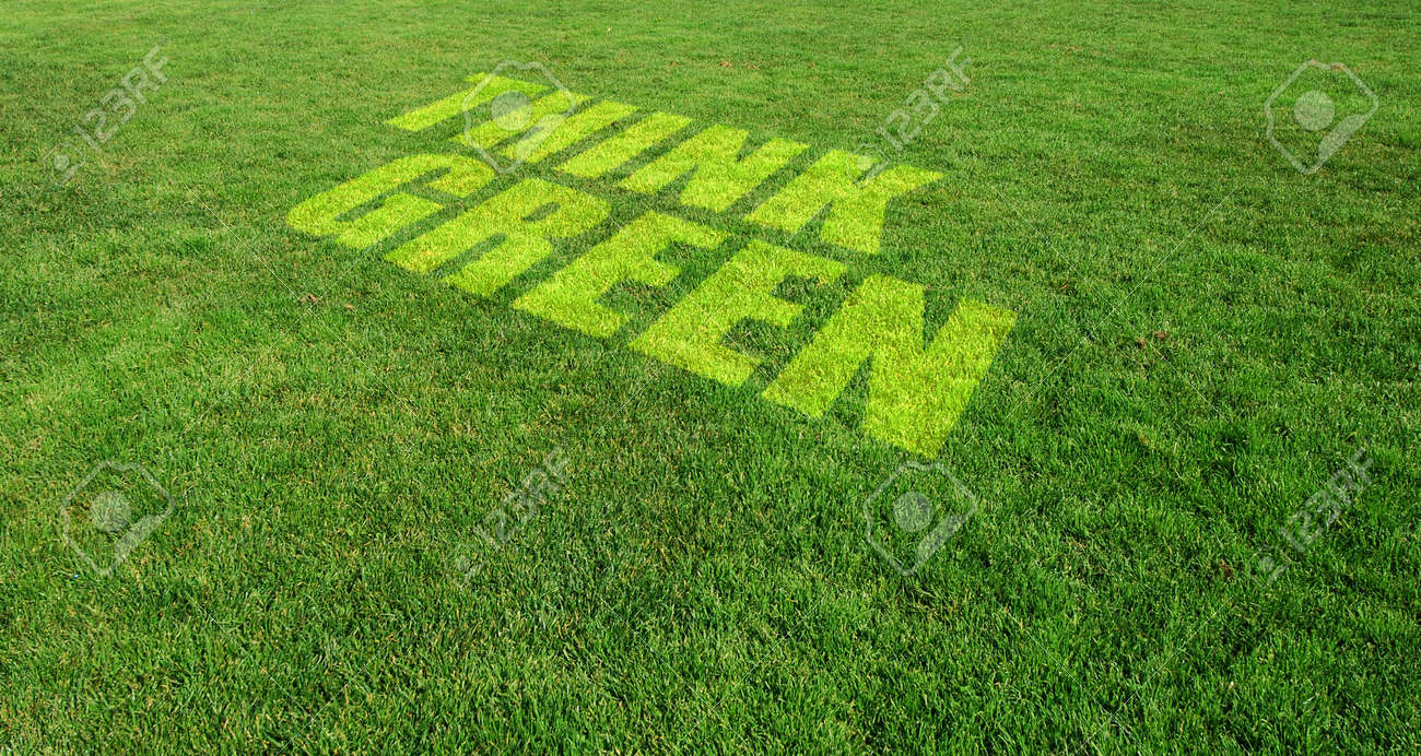 Think Green Text on Green Lawn Stock Photo - 9177256