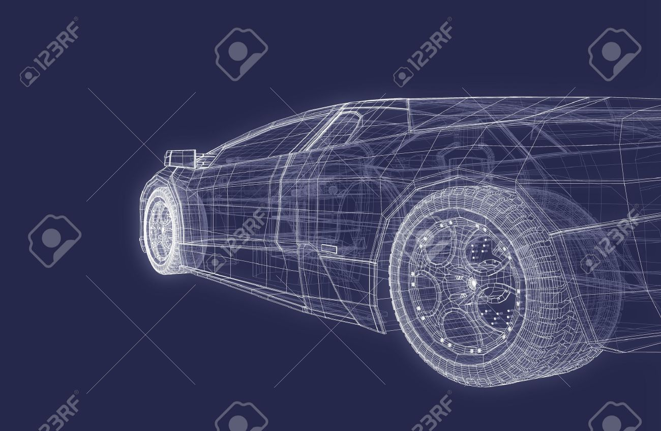 Super Sports Racing Car Design Blueprint Background Stock Photo ...