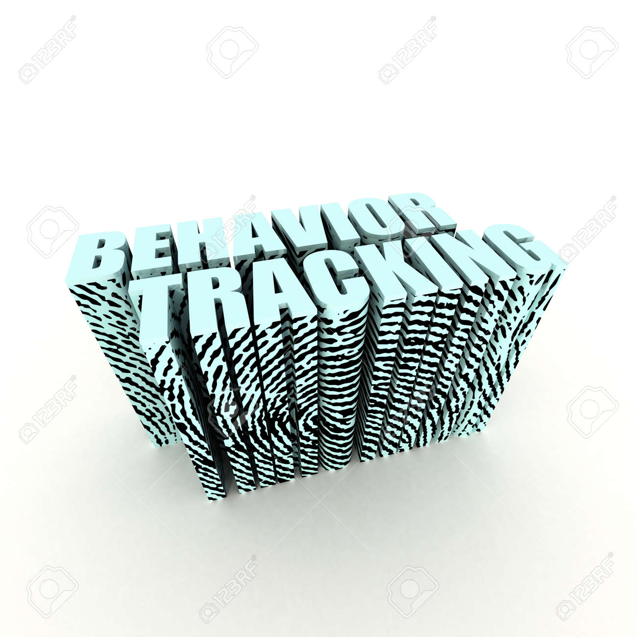 Behavior Tracking Text with Fingerprint on White Stock Photo - 10100778