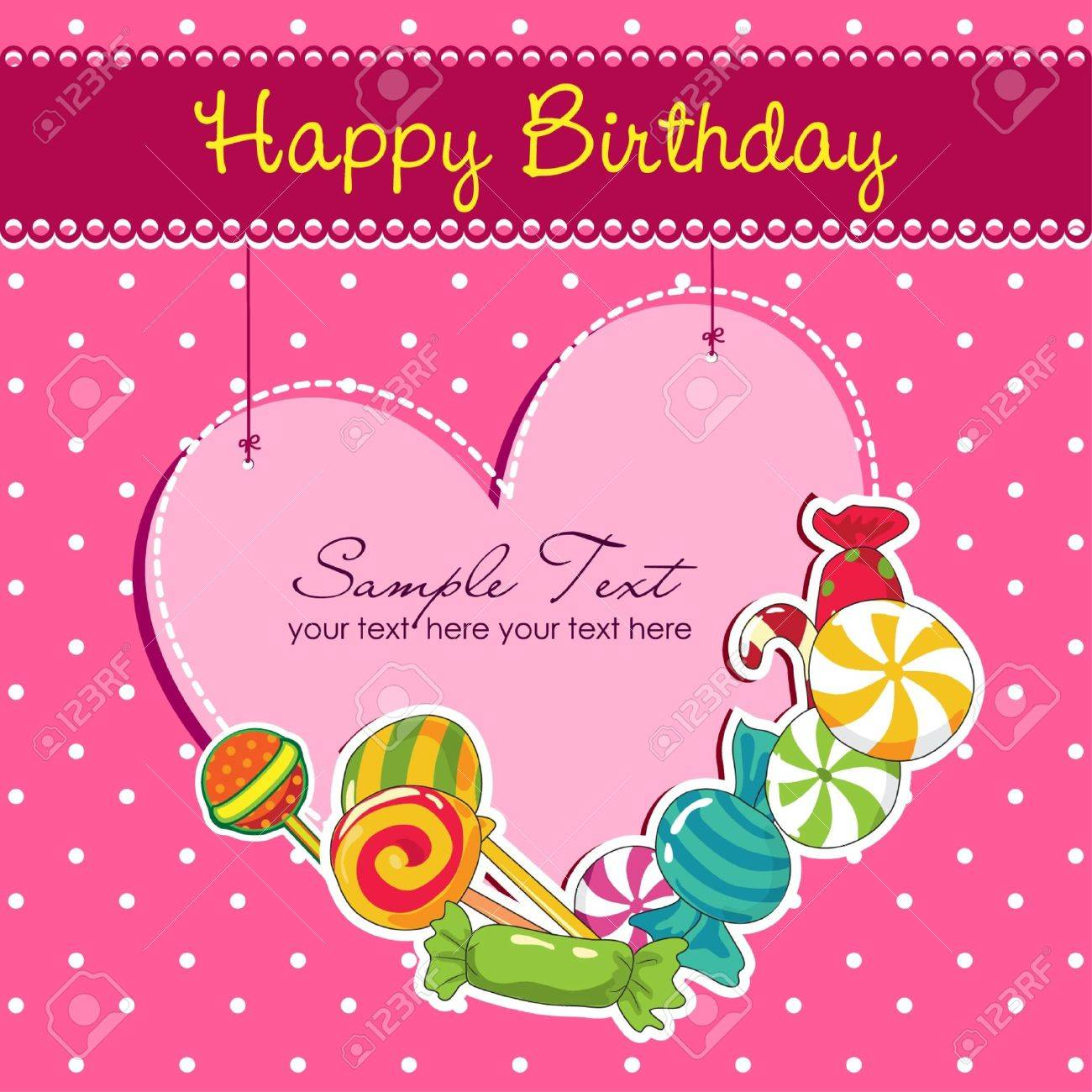 Pink Birthday card Stock Vector - 19609693