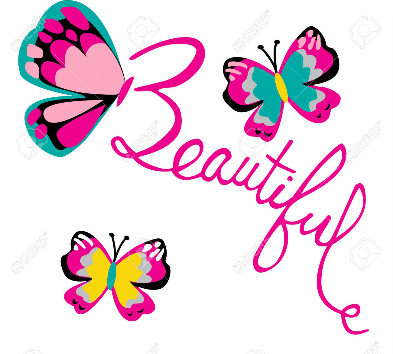 Beautiful Butterfly Print Art Royalty Free Cliparts, Vectors, And ...