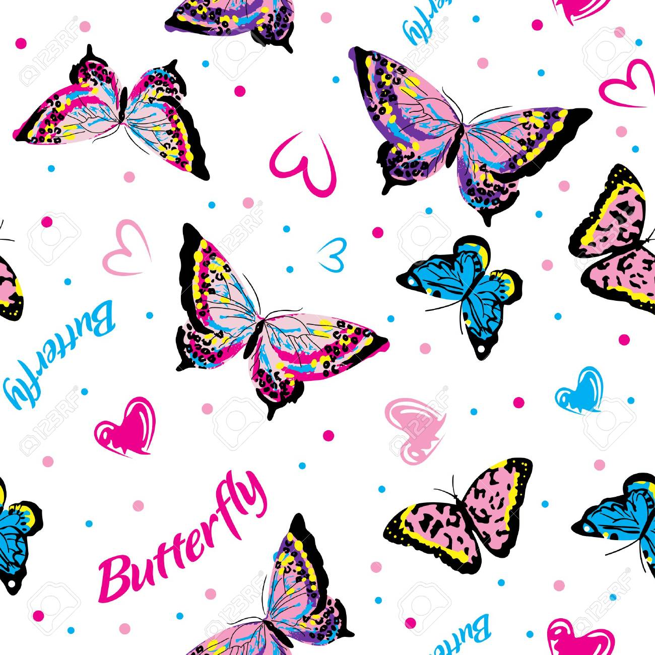 Butterfly Seamless Pattern For Fabric Graphic Design Royalty Free ...