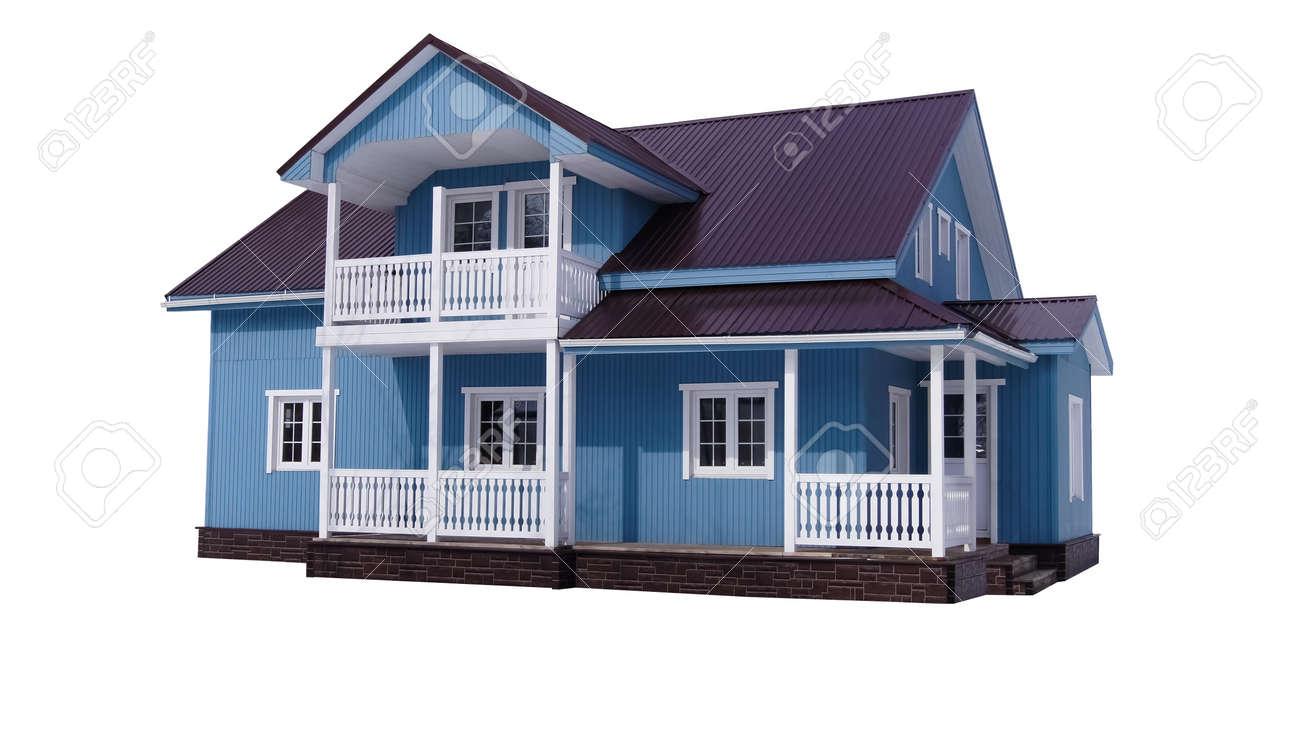 Blue house on white Stock Photo - 13372893