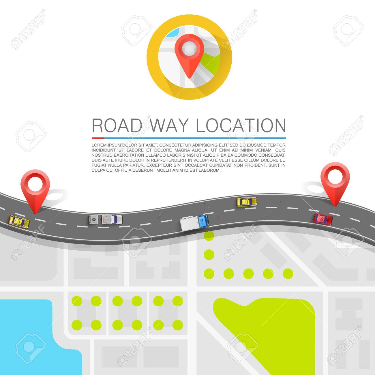 Paved path on the road art. Vector background - 35799096