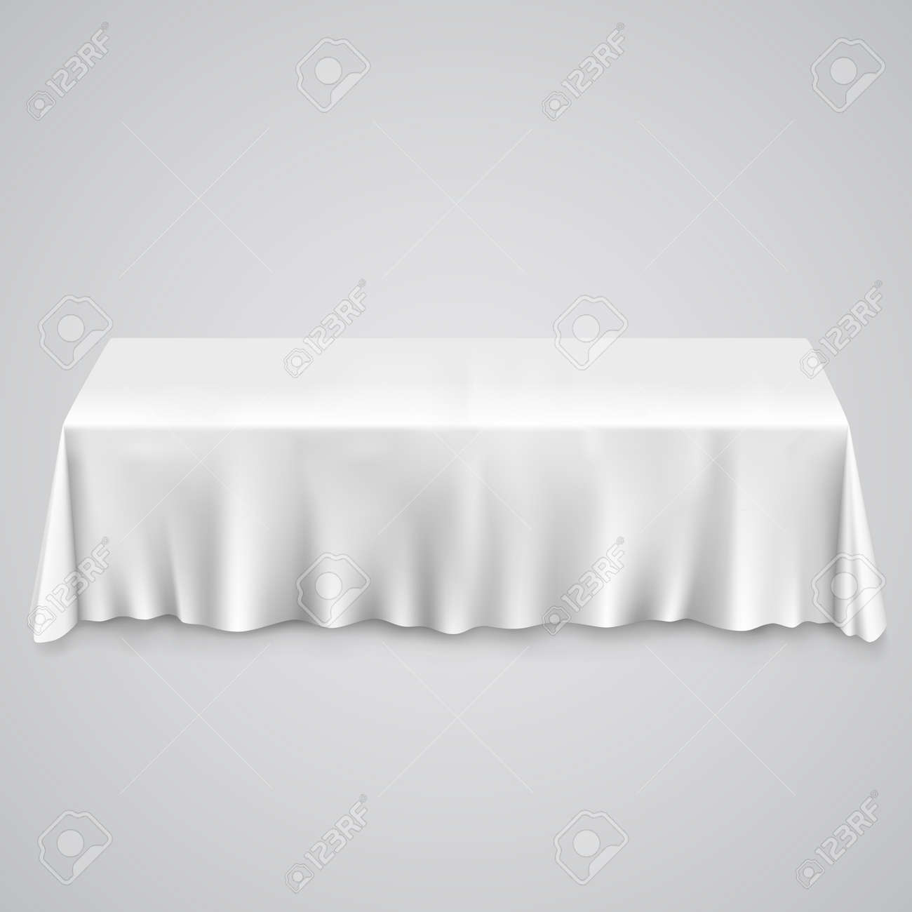 Amazing Table With Tablecloth White. Illustration Art 10eps Stock Vector   35858568