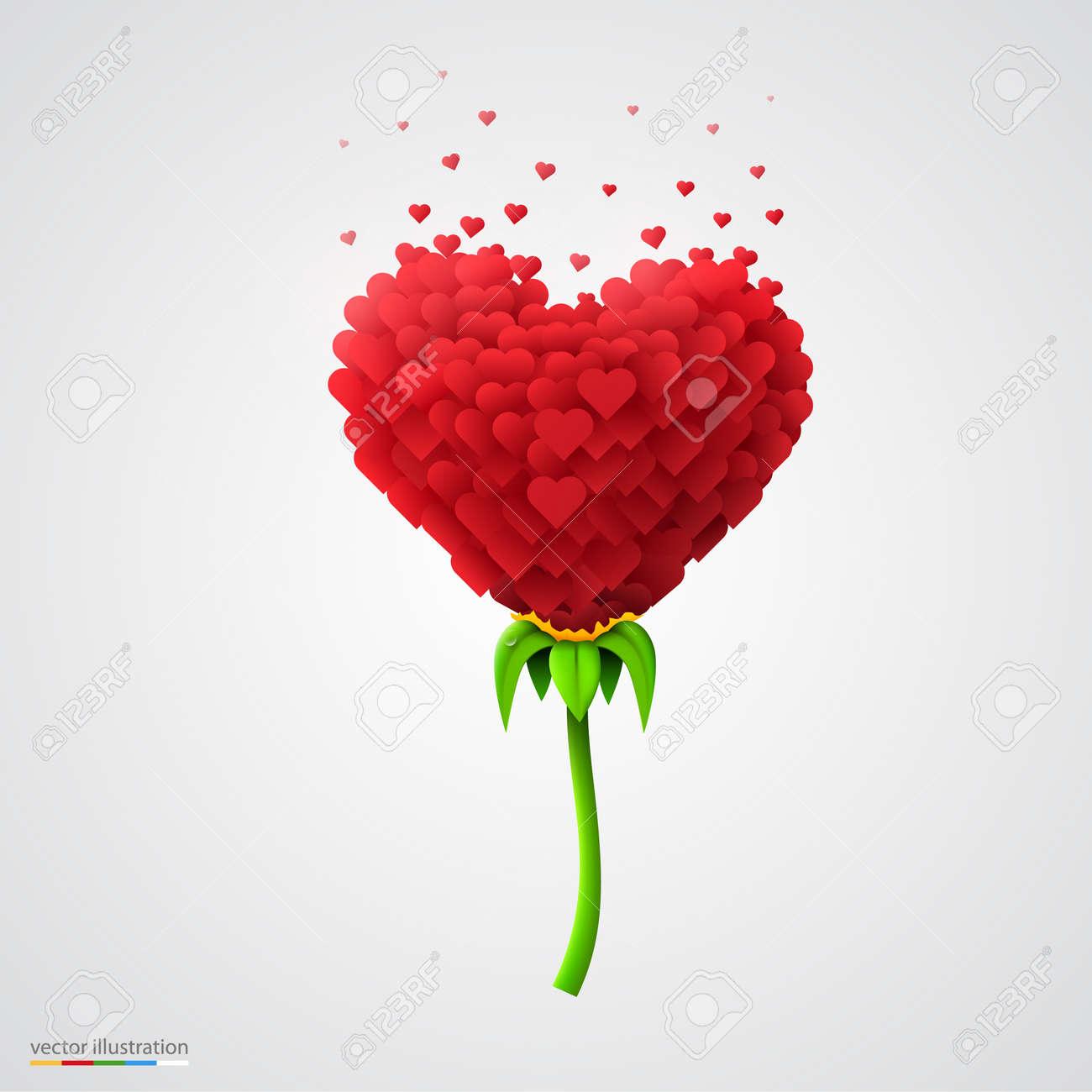 Flor En Forma De Corazón Construida De Pequeños Corazones