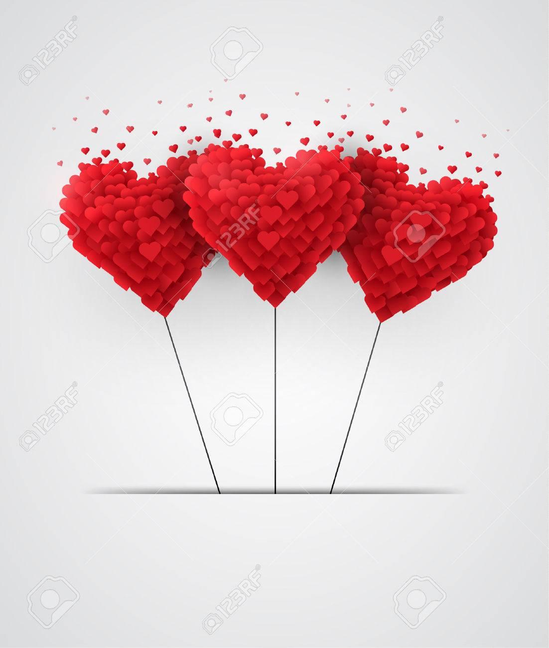 Valentinstag Herz Luftballons Auf Weissem Hintergrund Lizenzfrei