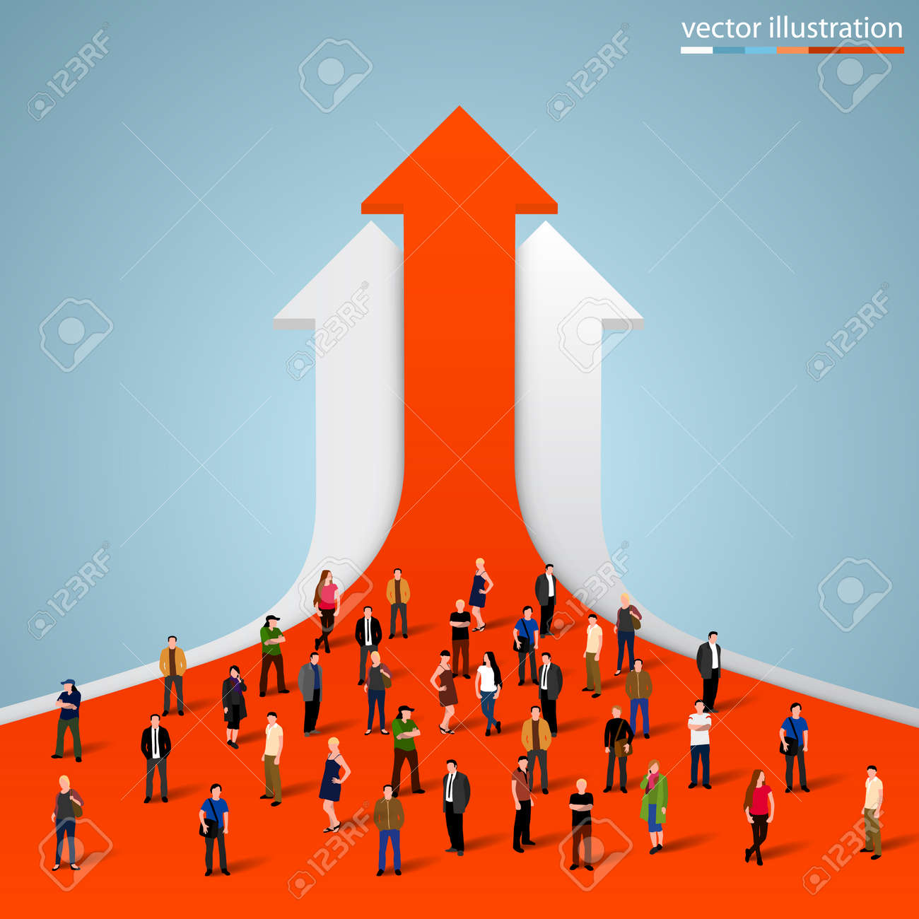 People crowd on the graph. Vector illustration - 36051365