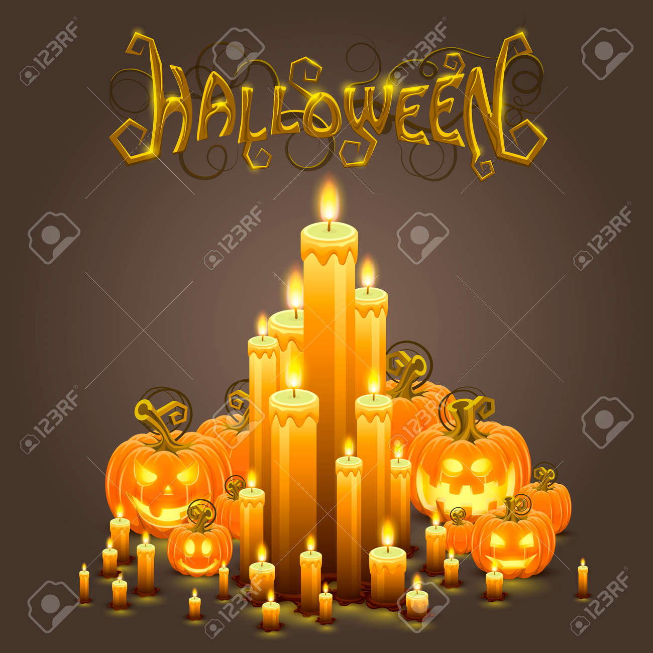 cover halloween pumpkin and candles. royalty free cliparts, vectors