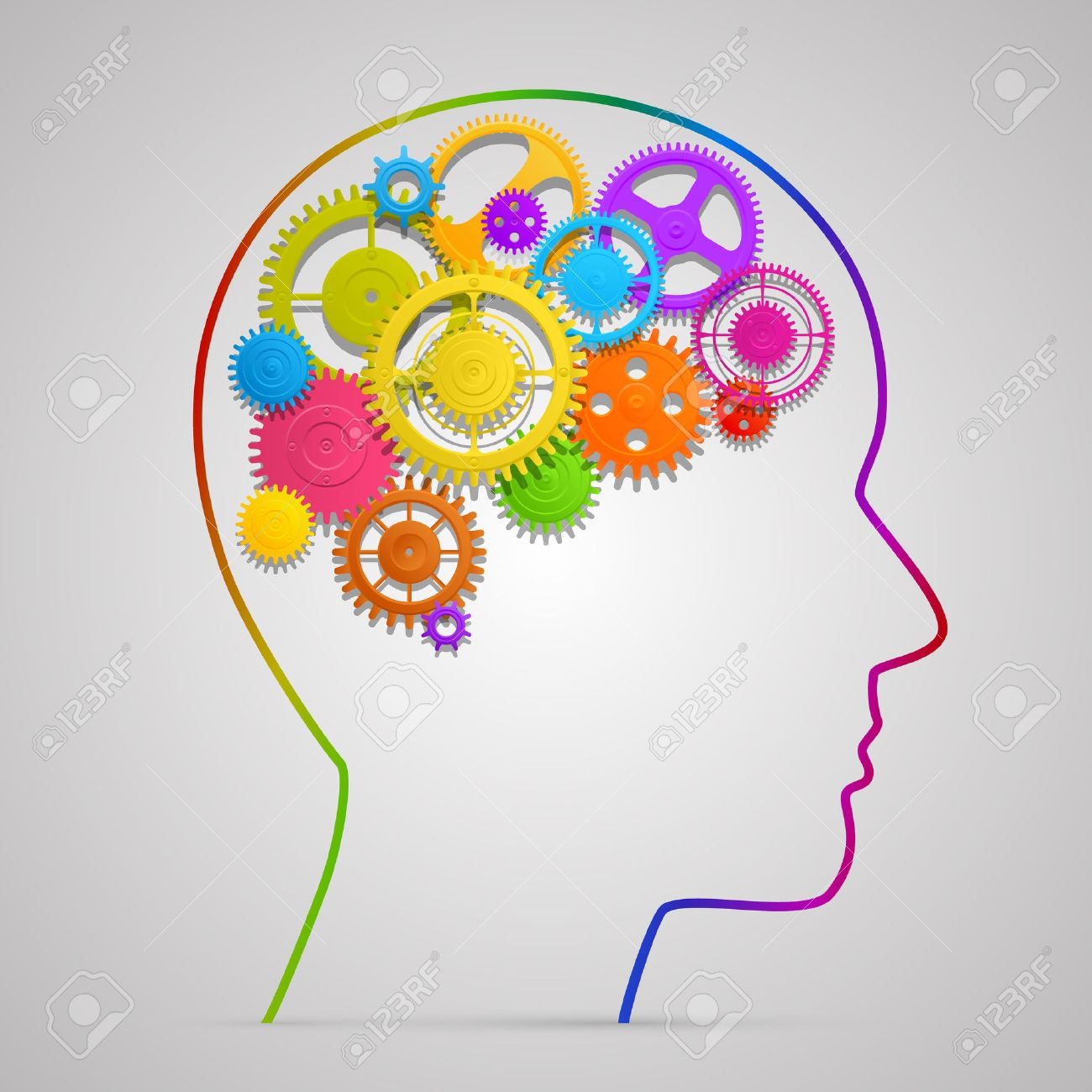 Head with gears in brain art. Vector illustration - 36275983