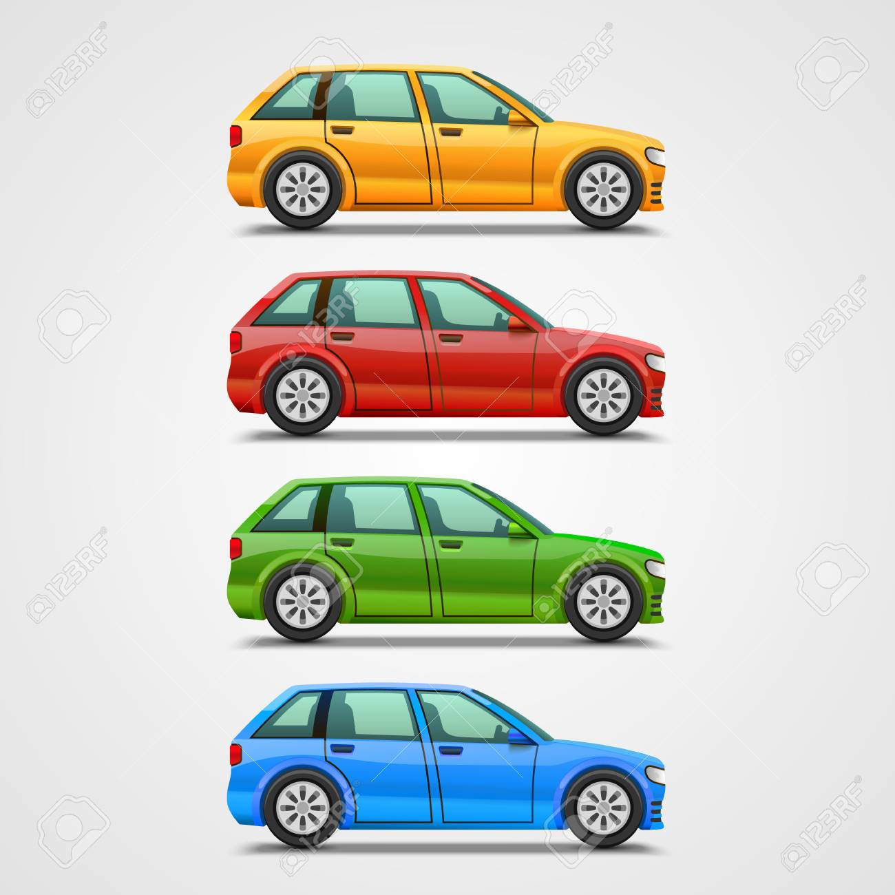 Car Color Set Art Object Vector Illustration Stock