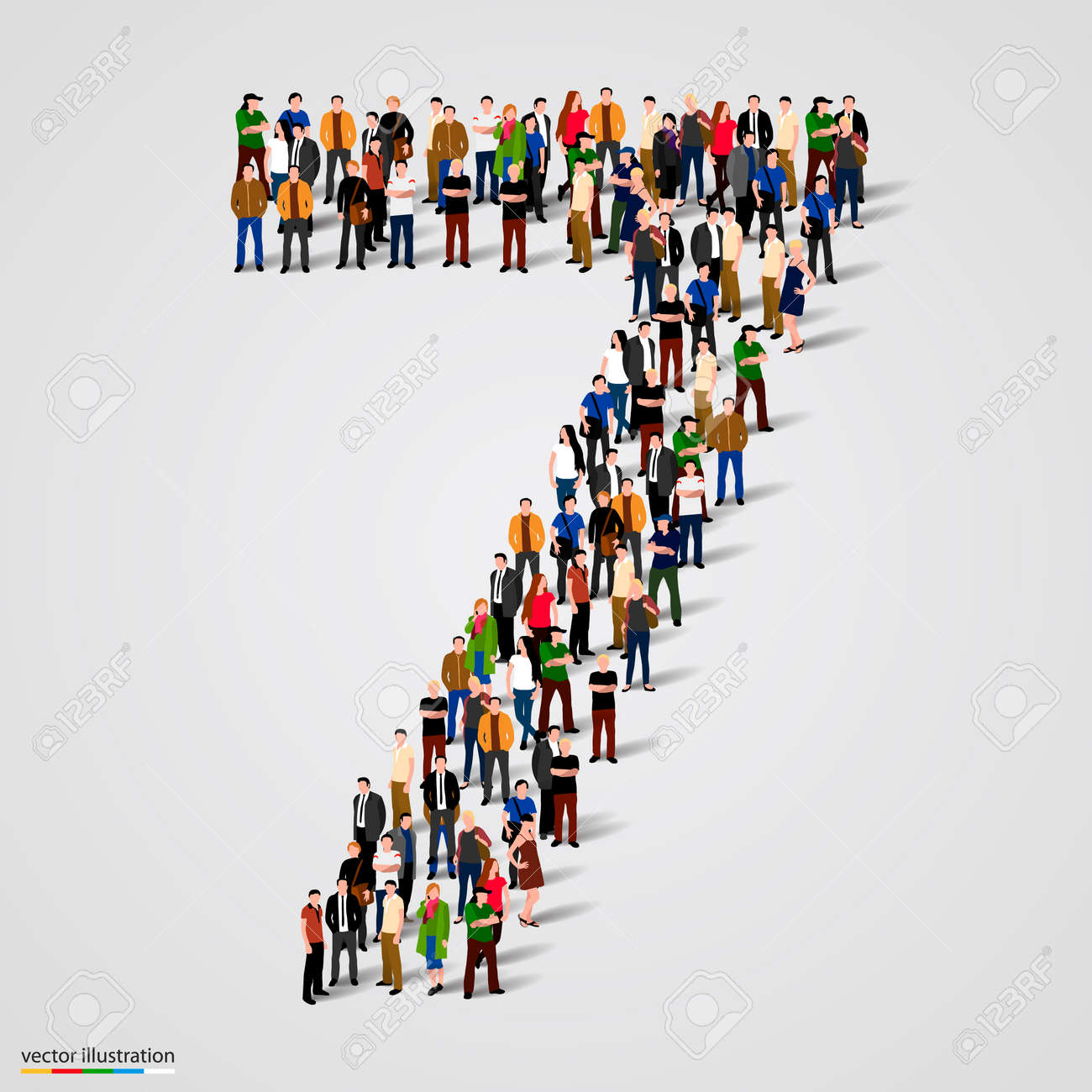 Large group of people in number 7 seven form. Vector illustration Standard-Bild - 46955122