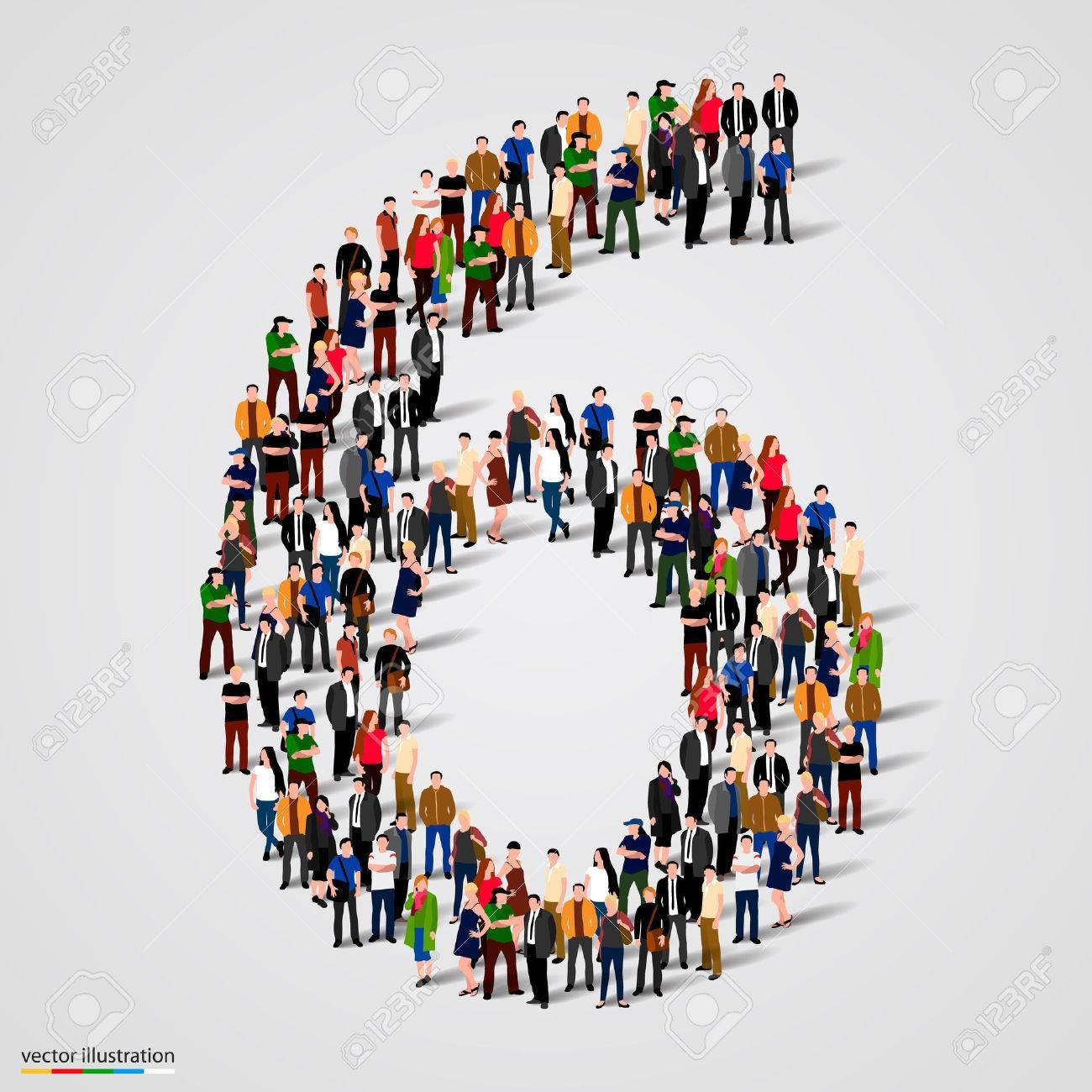 Large group of people in number 6 six form. Vector illustration Standard-Bild - 46955124