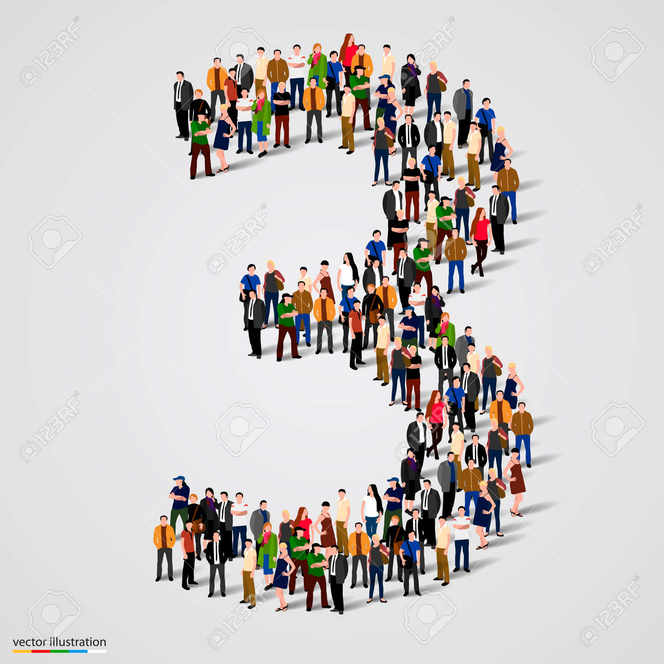 Large group of people in number 3 three form. Vector illustration Standard-Bild - 46955126