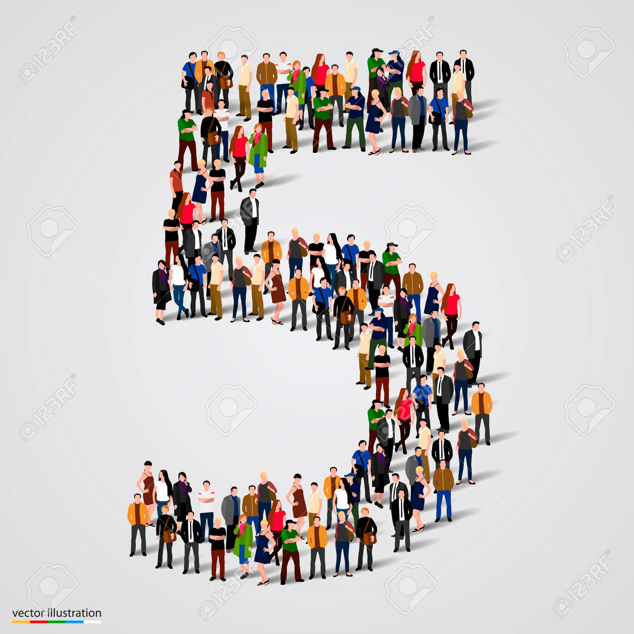 Large group of people in number 5 five form. Vector illustration Standard-Bild - 46955127