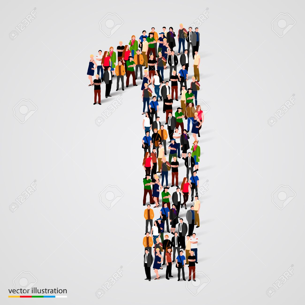 Large Group Of People In Number 1 One Form. Vector Illustration ...