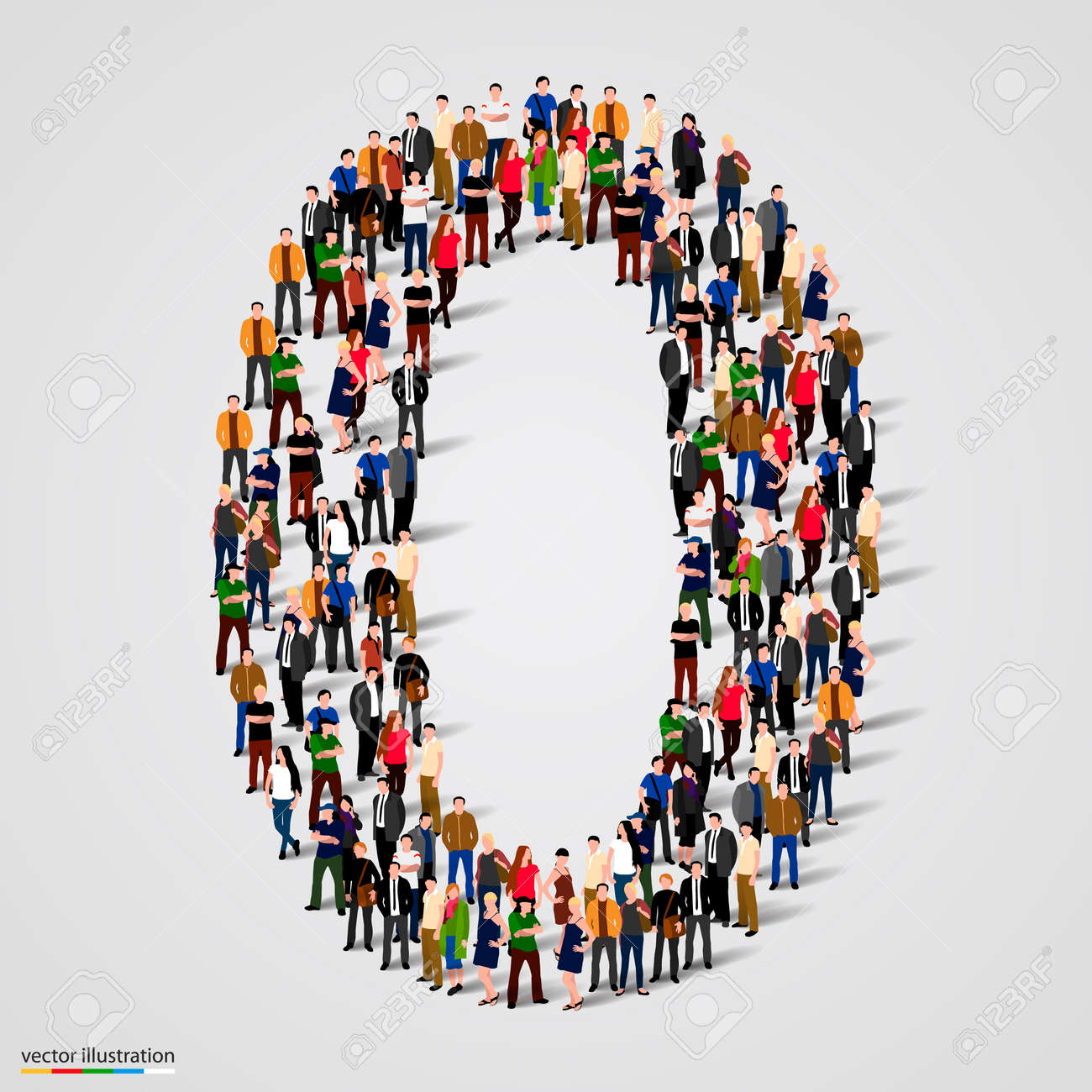 Large group of people in number 1 one form. Vector illustration Standard-Bild - 46955131