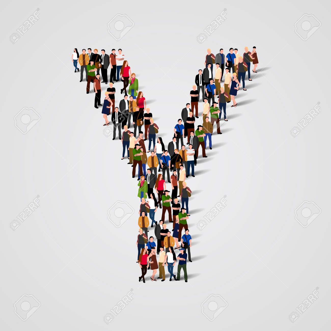 Large group of people in letter Y form. Vector seamless background Standard-Bild - 46955163